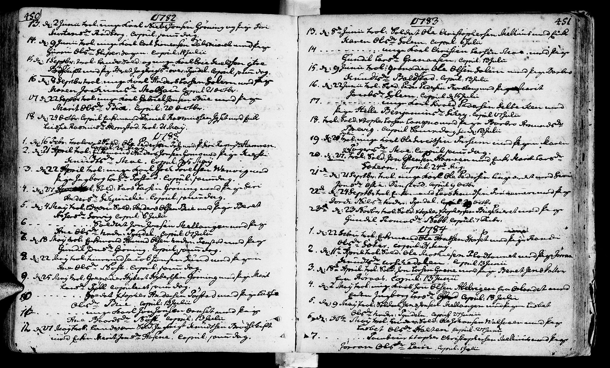SAT, Ministerialprotokoller, klokkerbøker og fødselsregistre - Sør-Trøndelag, 646/L0605: Ministerialbok nr. 646A03, 1751-1790, s. 450-451