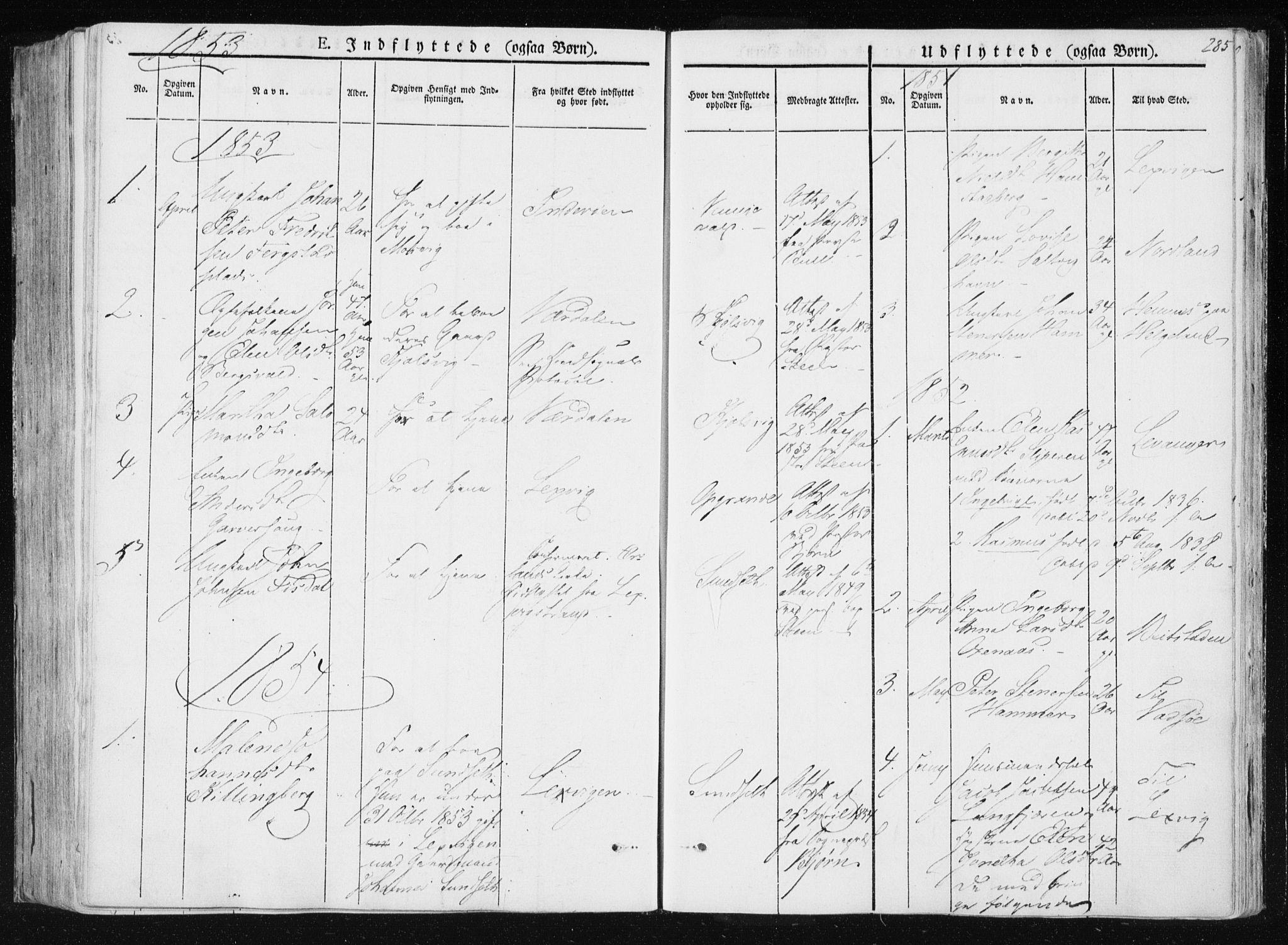 SAT, Ministerialprotokoller, klokkerbøker og fødselsregistre - Nord-Trøndelag, 733/L0323: Ministerialbok nr. 733A02, 1843-1870, s. 285