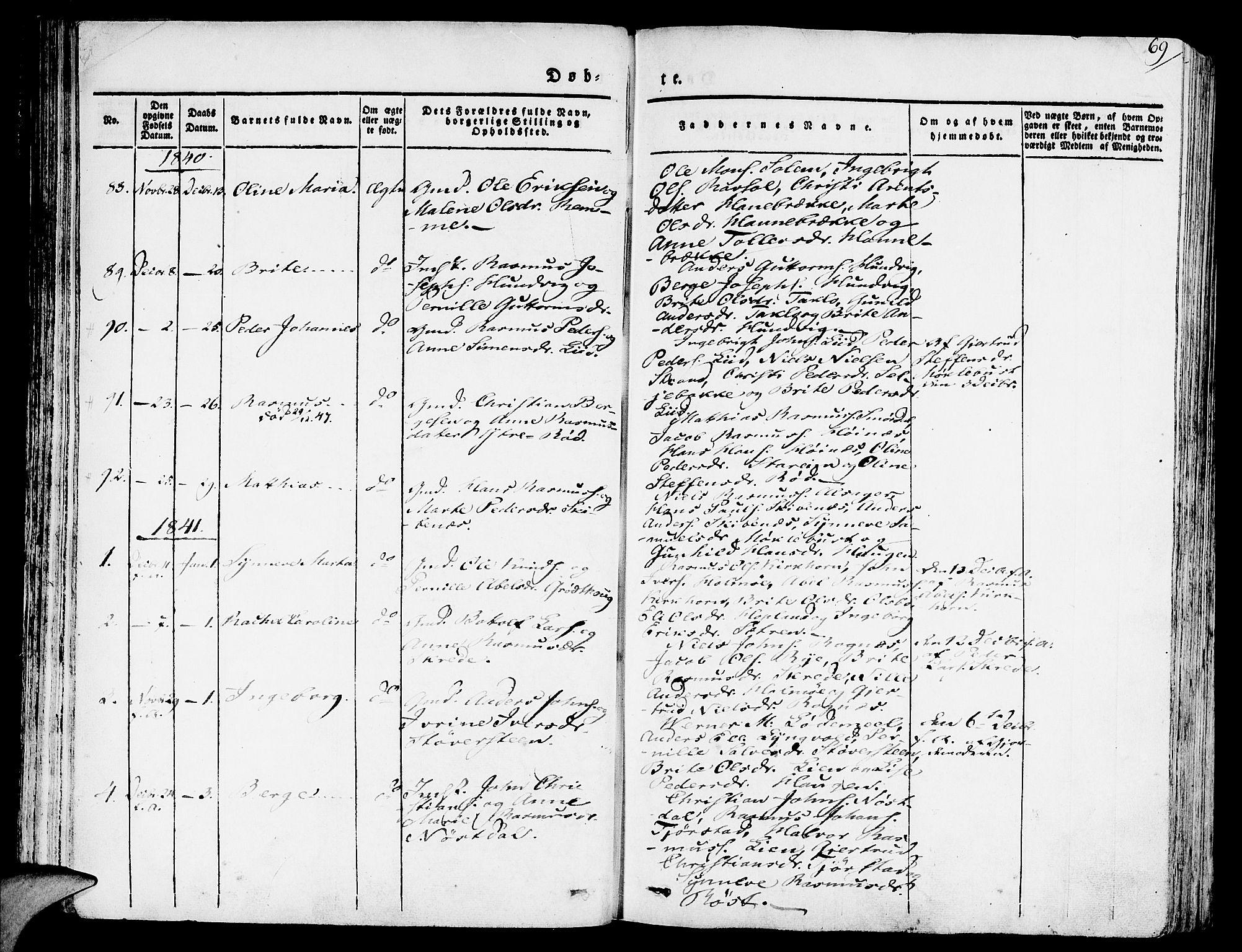 SAB, Eid Sokneprestembete, H/Haa: Ministerialbok nr. A 6, 1831-1843, s. 69