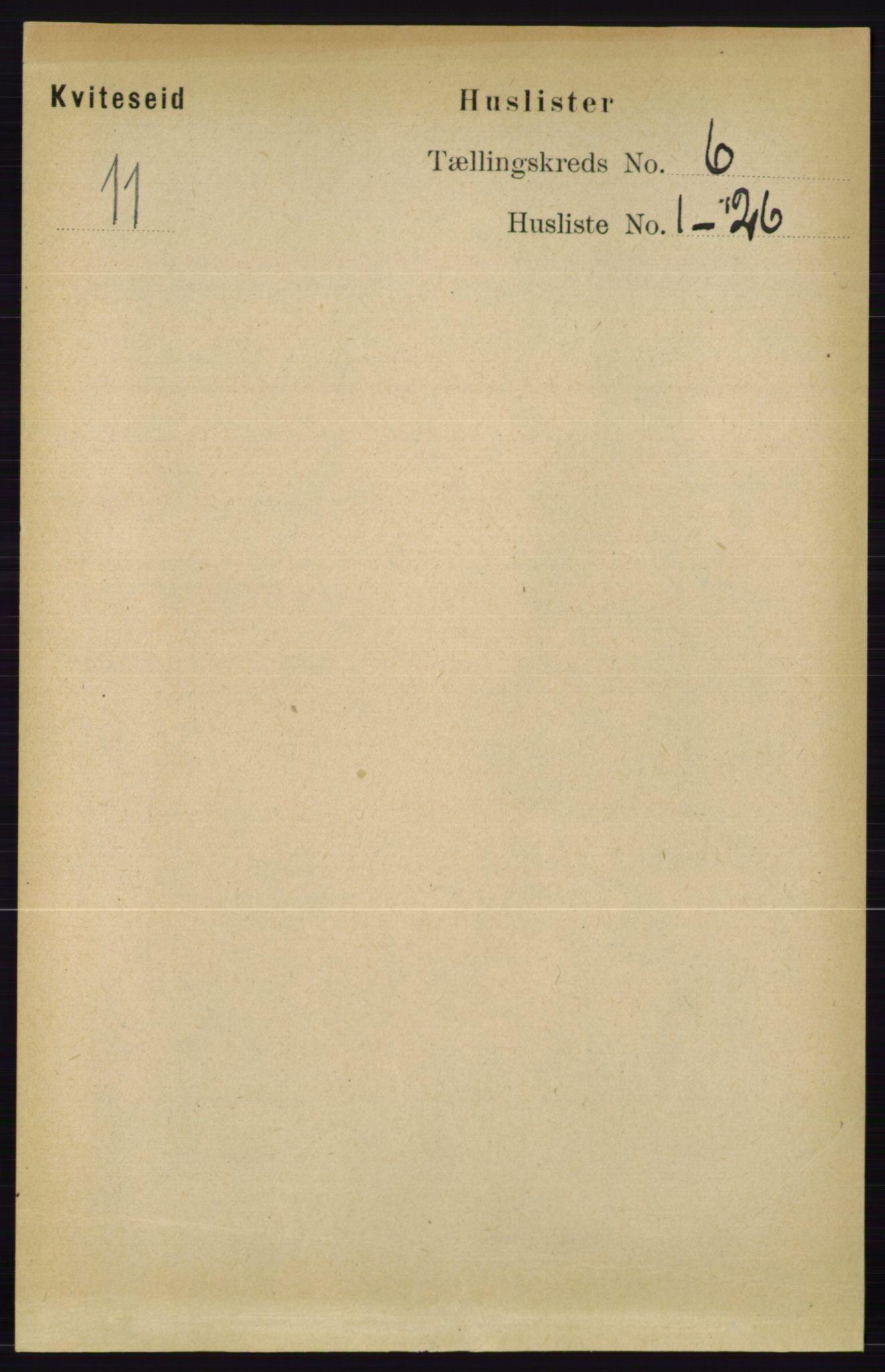RA, Folketelling 1891 for 0829 Kviteseid herred, 1891, s. 1138