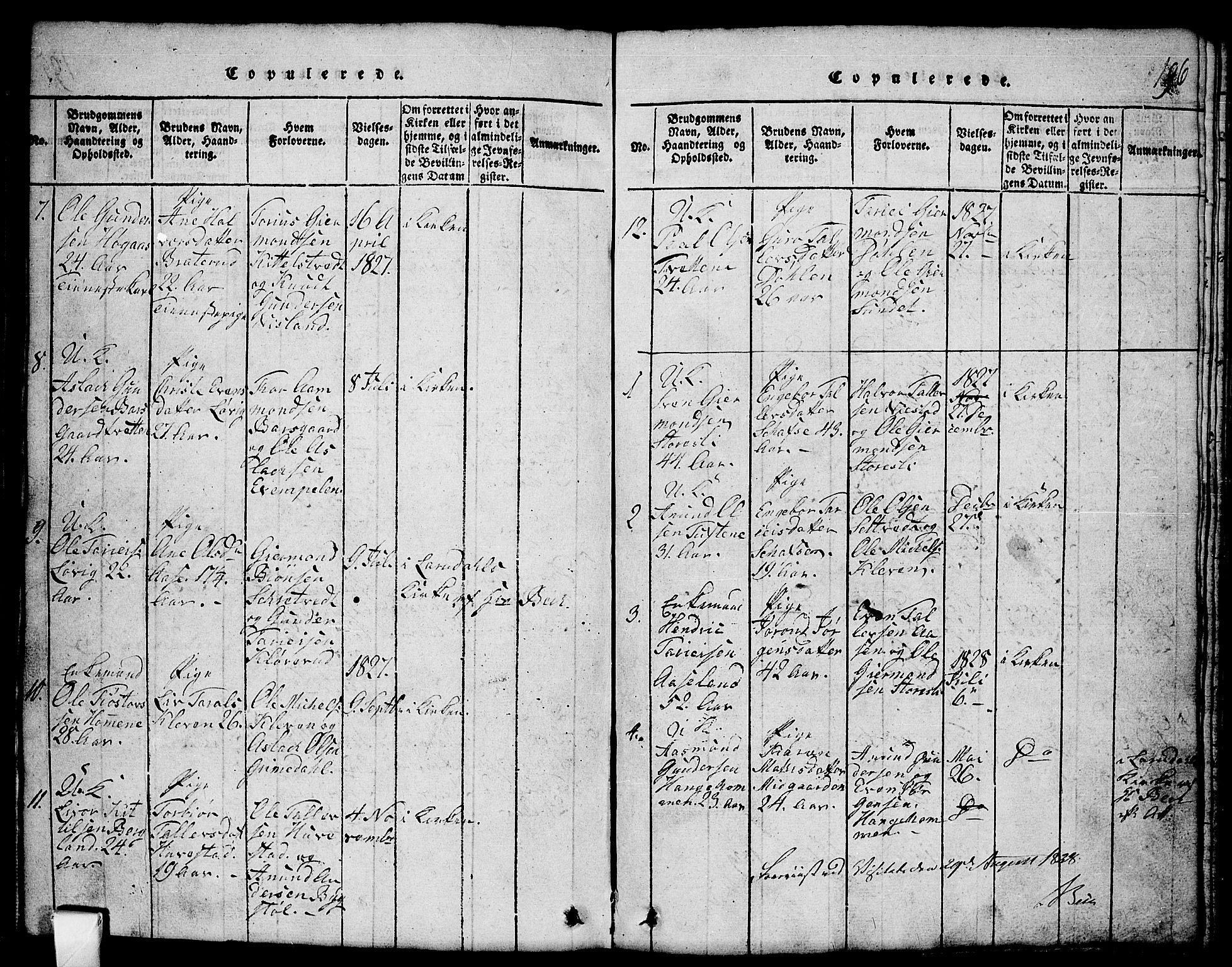 SAKO, Mo kirkebøker, G/Gb/L0001: Klokkerbok nr. II 1, 1814-1843, s. 196