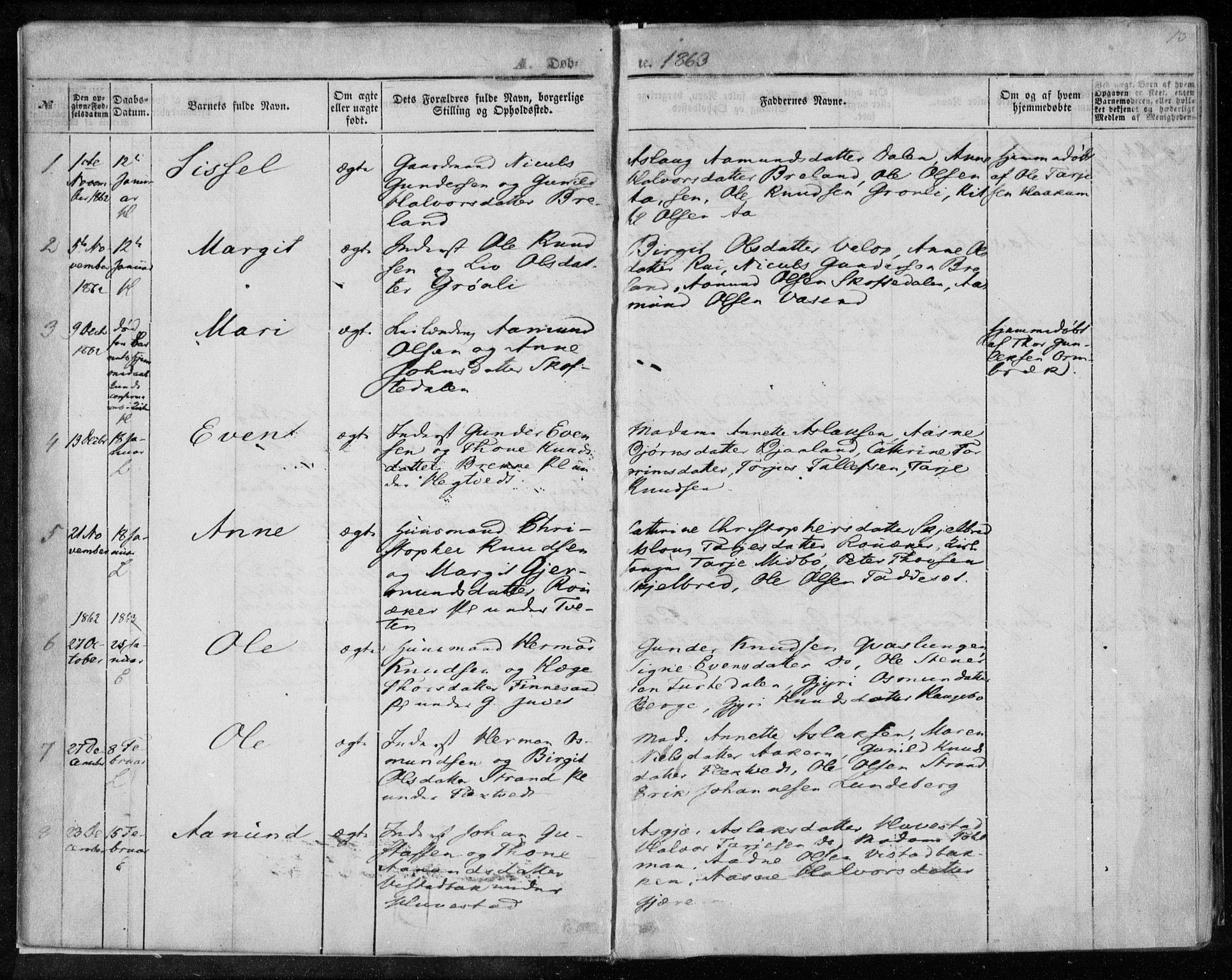 SAKO, Lårdal kirkebøker, F/Fa/L0006: Ministerialbok nr. I 6, 1861-1886, s. 13