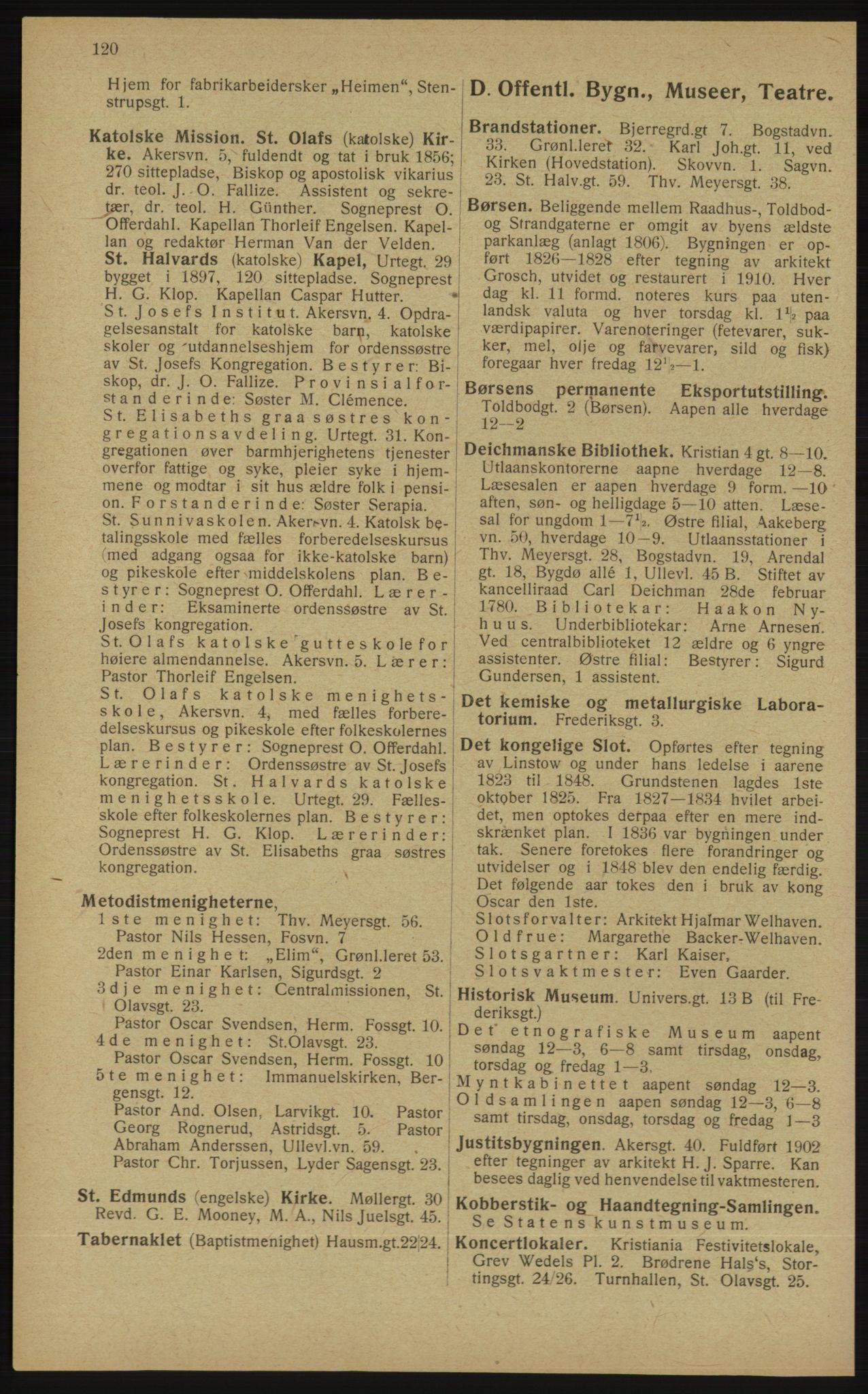 RA, Kristiania adressebok (publikasjon)*, 1913, s. 120