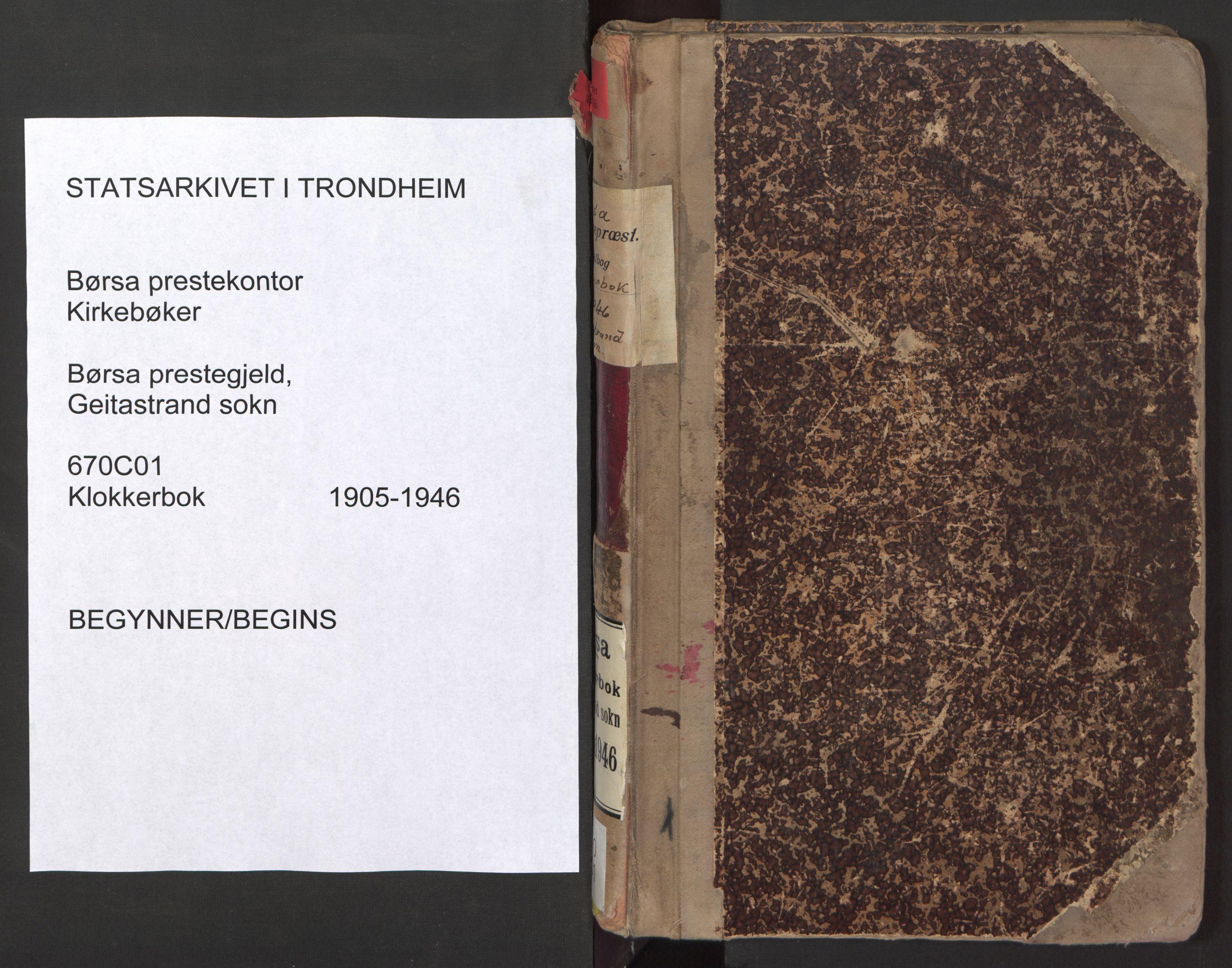 SAT, Ministerialprotokoller, klokkerbøker og fødselsregistre - Sør-Trøndelag, 670/L0837: Klokkerbok nr. 670C01, 1905-1946