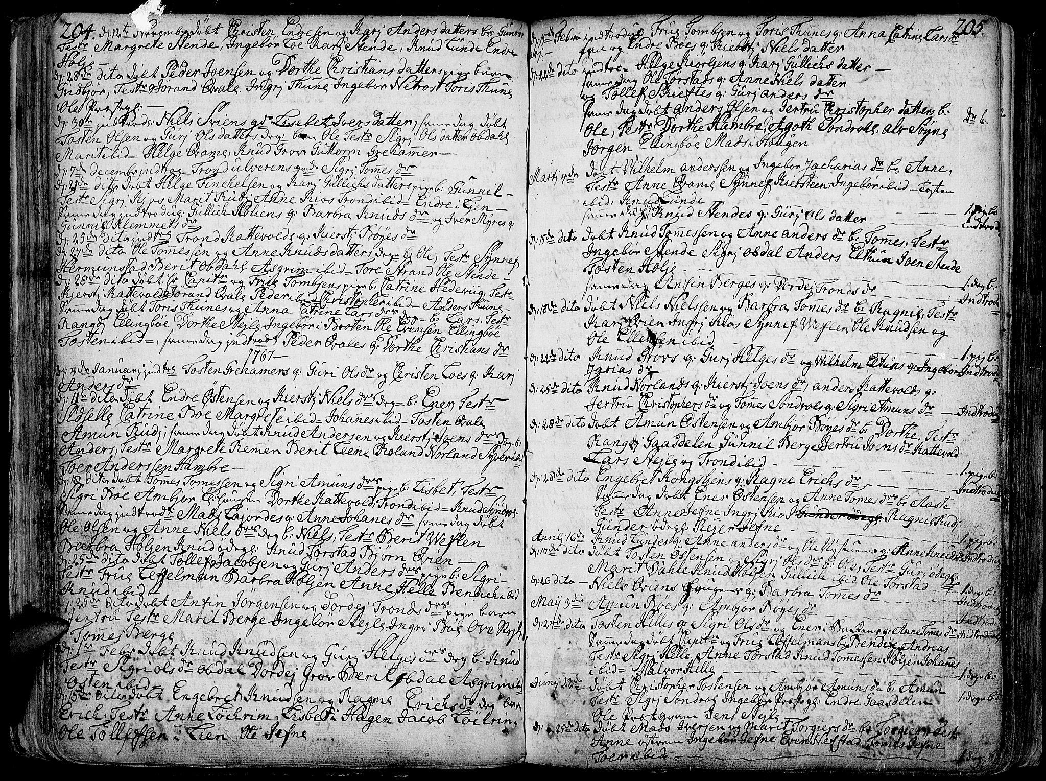 SAH, Vang prestekontor, Valdres, Ministerialbok nr. 1, 1730-1796, s. 204-205