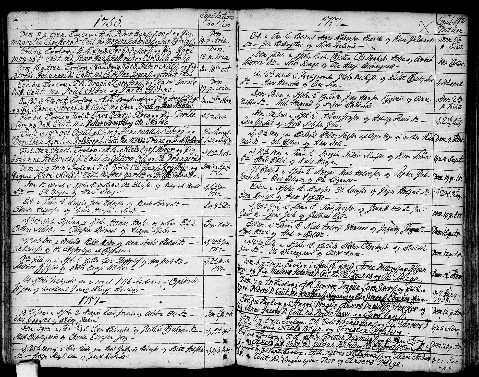 SAO, Asker prestekontor Kirkebøker, F/Fa/L0002: Ministerialbok nr. I 2, 1733-1766, s. 172
