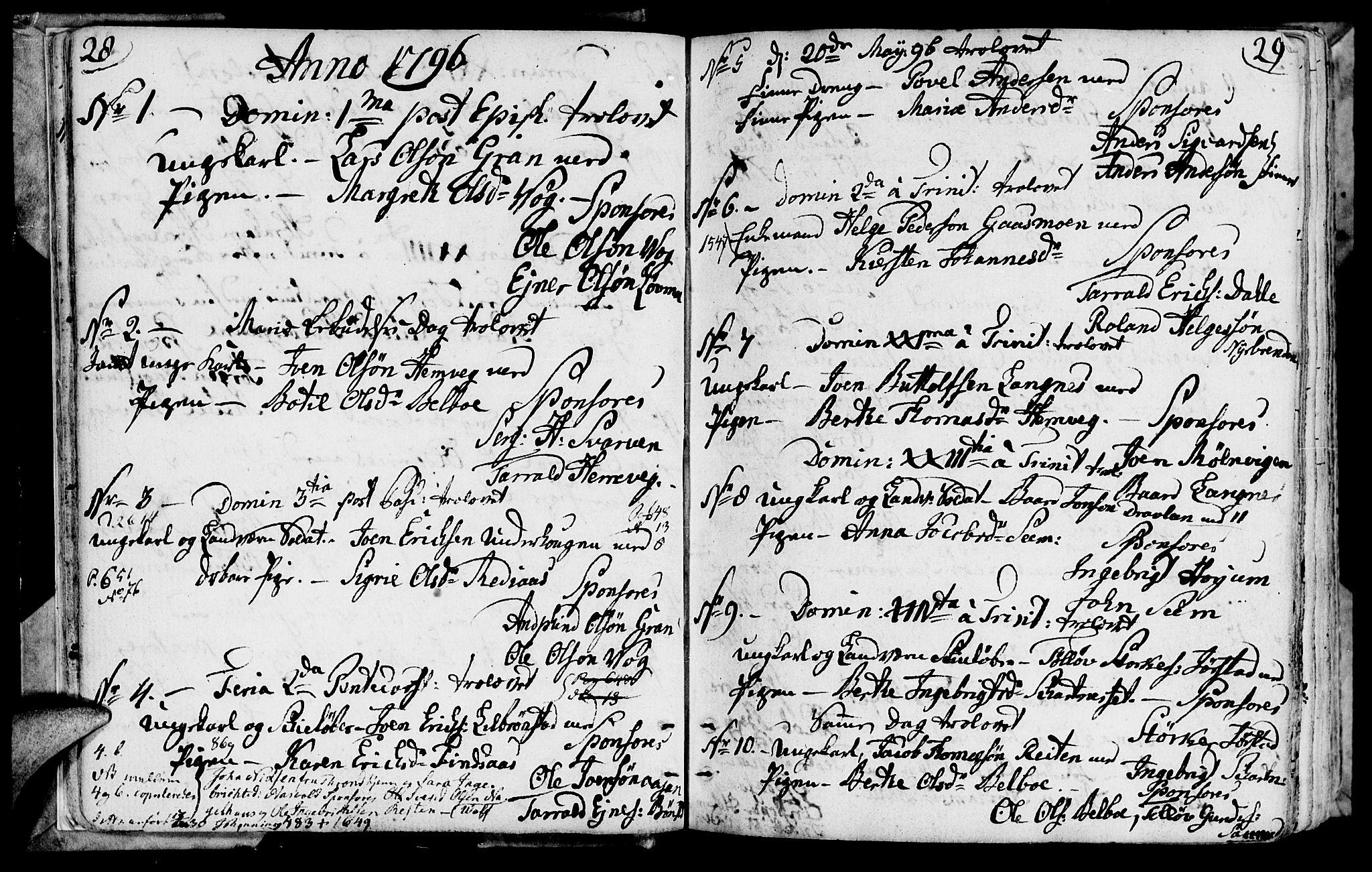 SAT, Ministerialprotokoller, klokkerbøker og fødselsregistre - Nord-Trøndelag, 749/L0468: Ministerialbok nr. 749A02, 1787-1817, s. 28-29