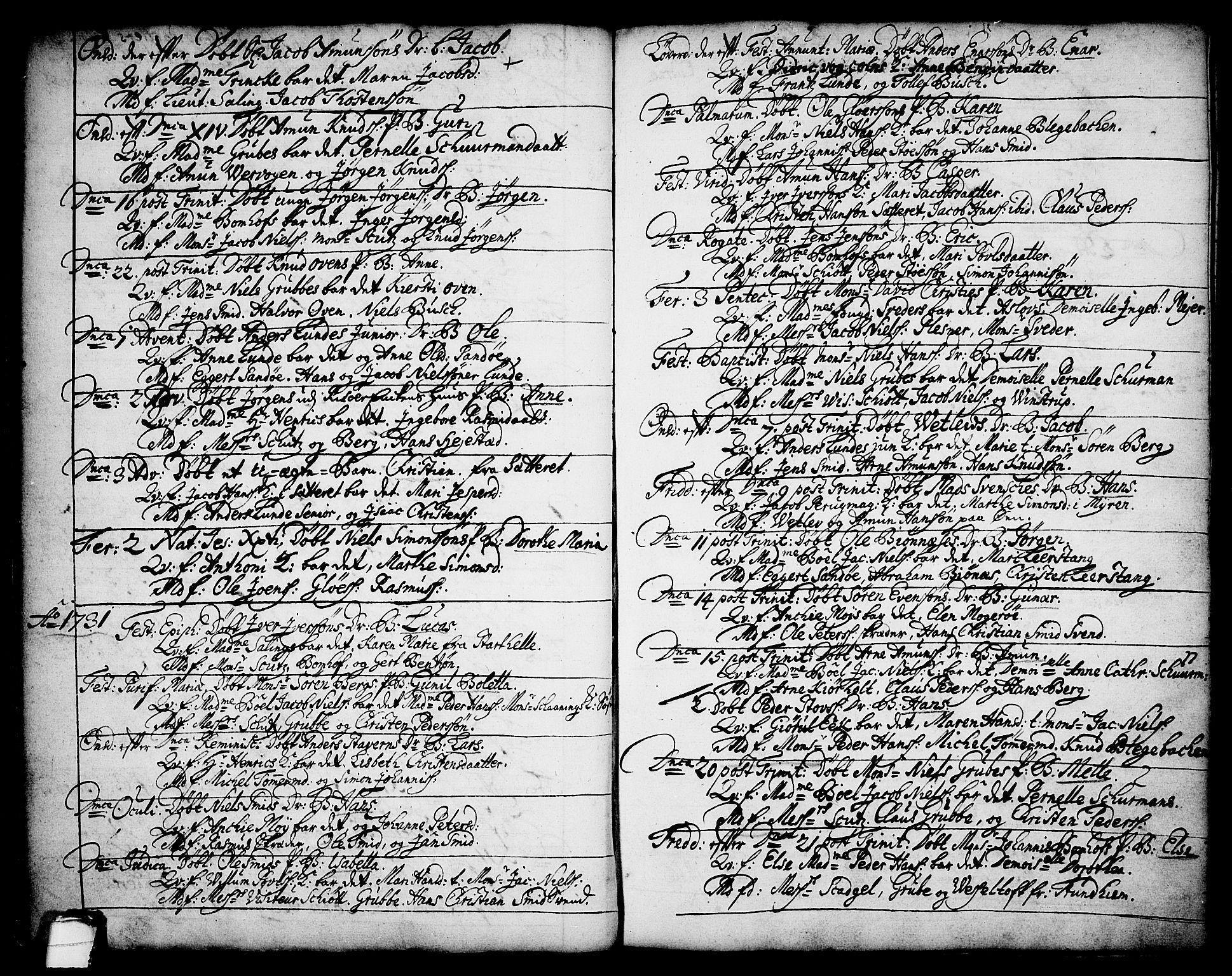 SAKO, Brevik kirkebøker, F/Fa/L0002: Ministerialbok nr. 2, 1720-1764, s. 34b