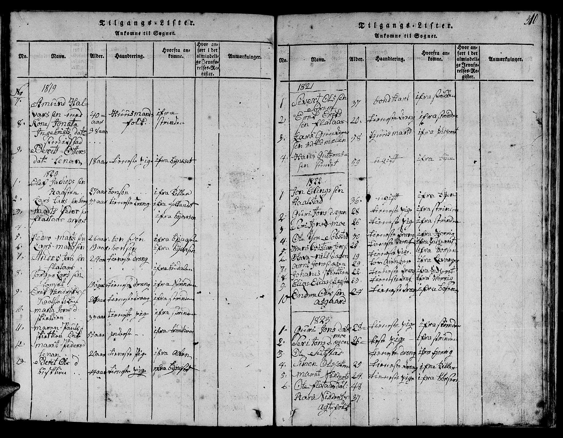 SAT, Ministerialprotokoller, klokkerbøker og fødselsregistre - Sør-Trøndelag, 613/L0393: Klokkerbok nr. 613C01, 1816-1886, s. 310