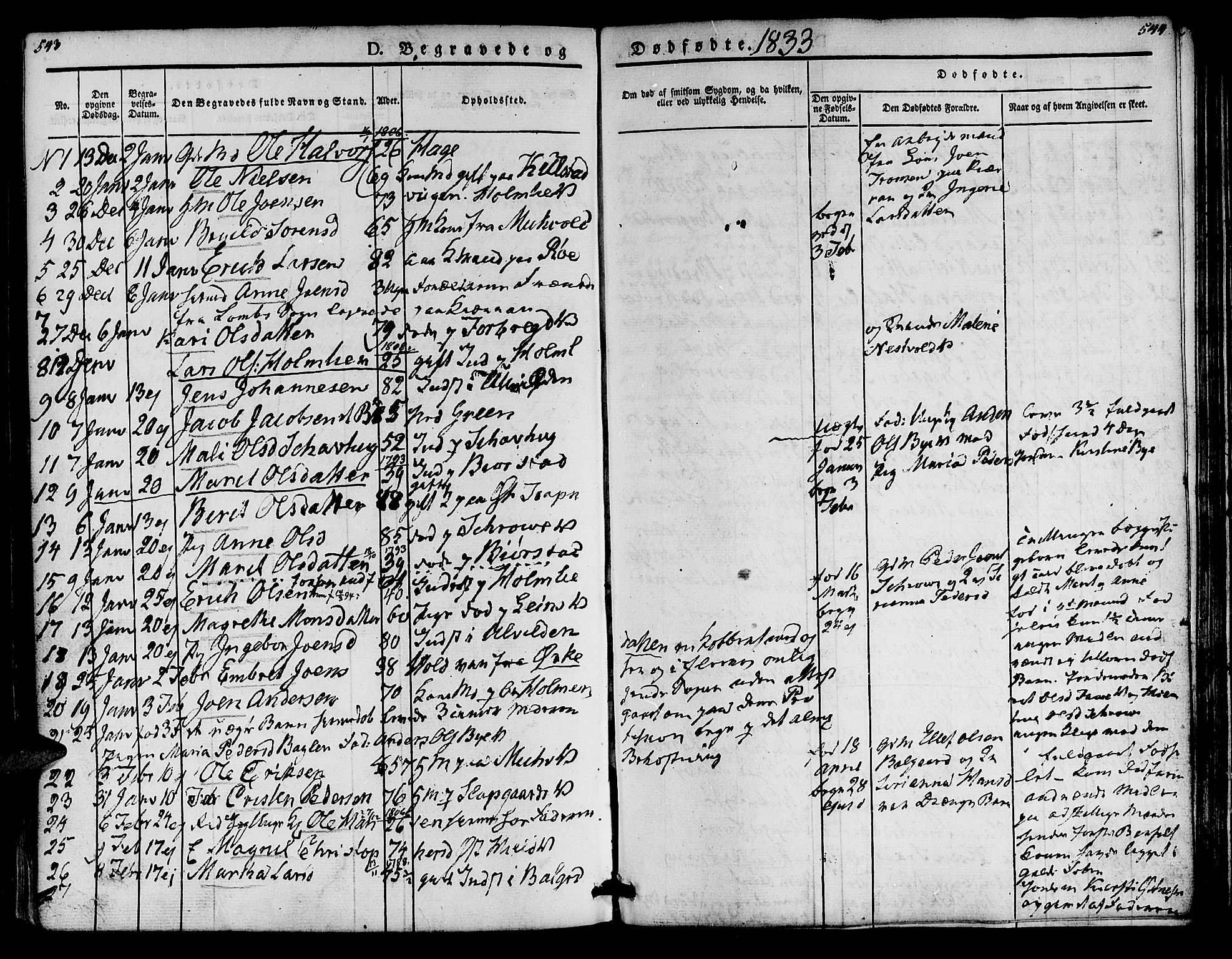 SAT, Ministerialprotokoller, klokkerbøker og fødselsregistre - Nord-Trøndelag, 723/L0238: Ministerialbok nr. 723A07, 1831-1840, s. 543-544