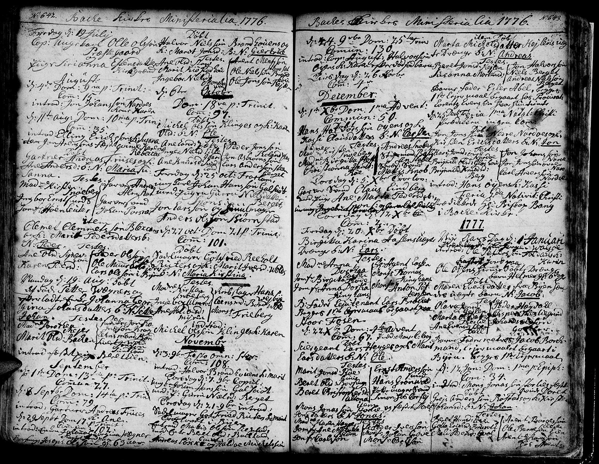 SAT, Ministerialprotokoller, klokkerbøker og fødselsregistre - Sør-Trøndelag, 606/L0276: Ministerialbok nr. 606A01 /2, 1727-1779, s. 642-643
