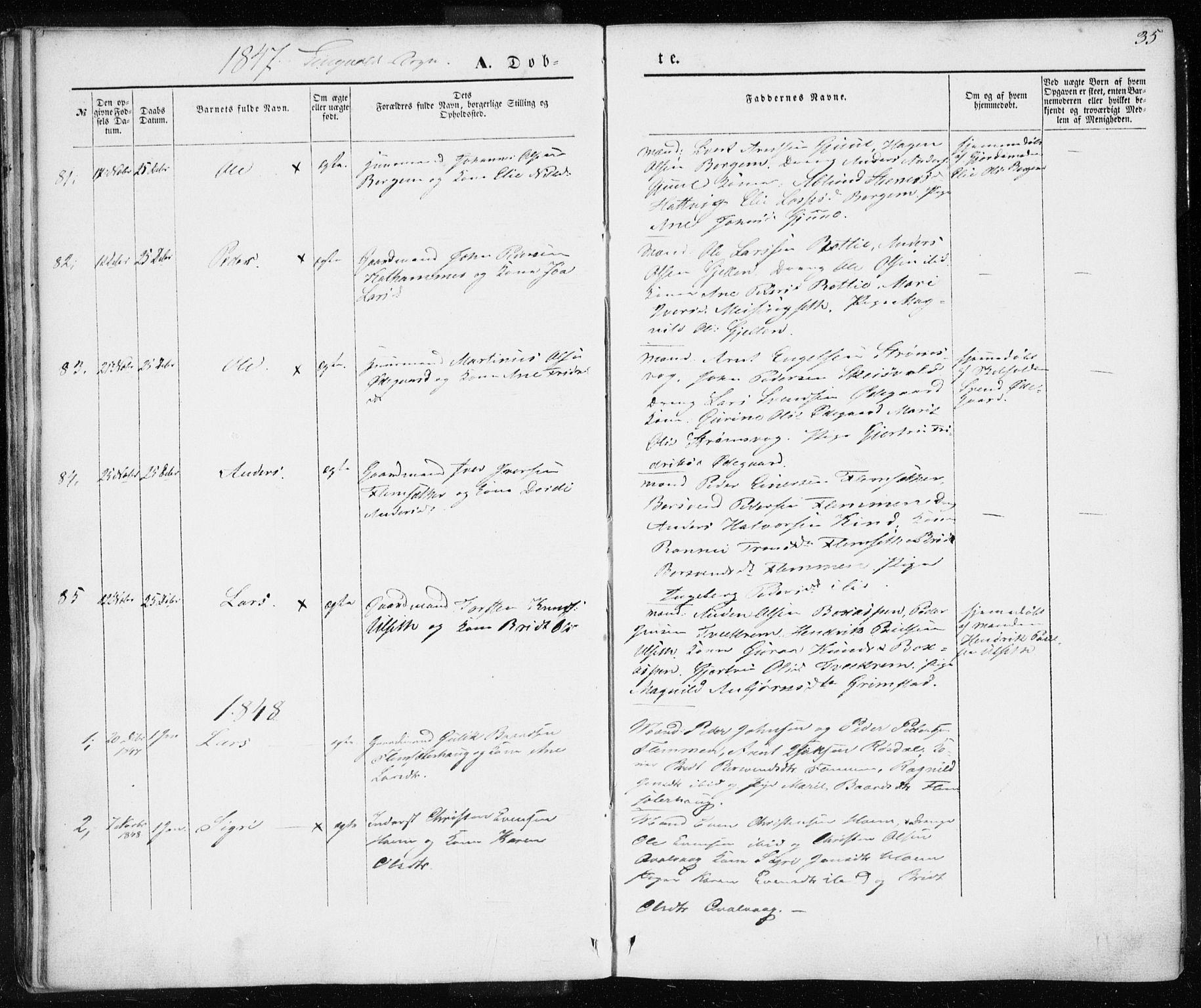 SAT, Ministerialprotokoller, klokkerbøker og fødselsregistre - Møre og Romsdal, 586/L0984: Ministerialbok nr. 586A10, 1844-1856, s. 35