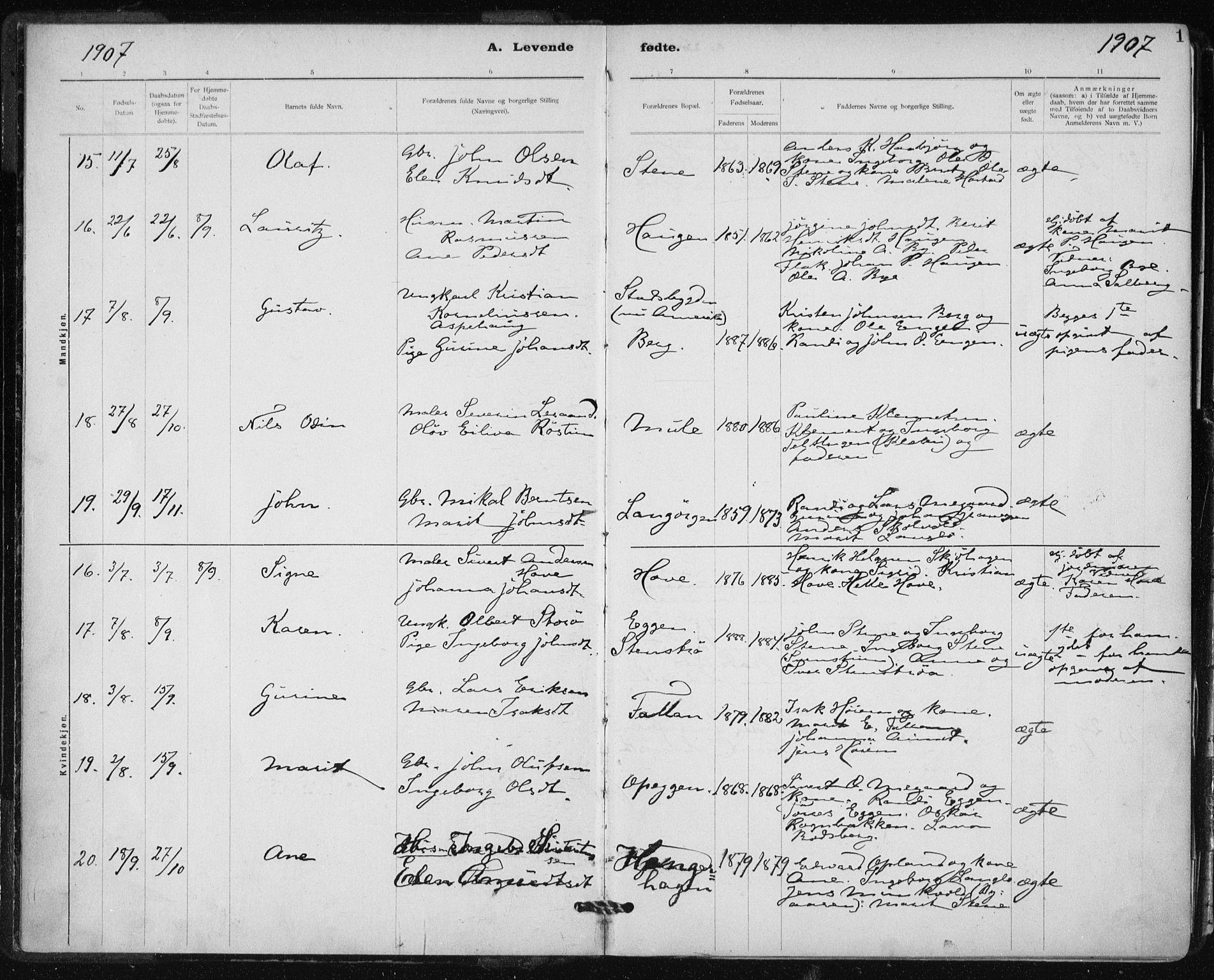 SAT, Ministerialprotokoller, klokkerbøker og fødselsregistre - Sør-Trøndelag, 612/L0381: Ministerialbok nr. 612A13, 1907-1923, s. 1