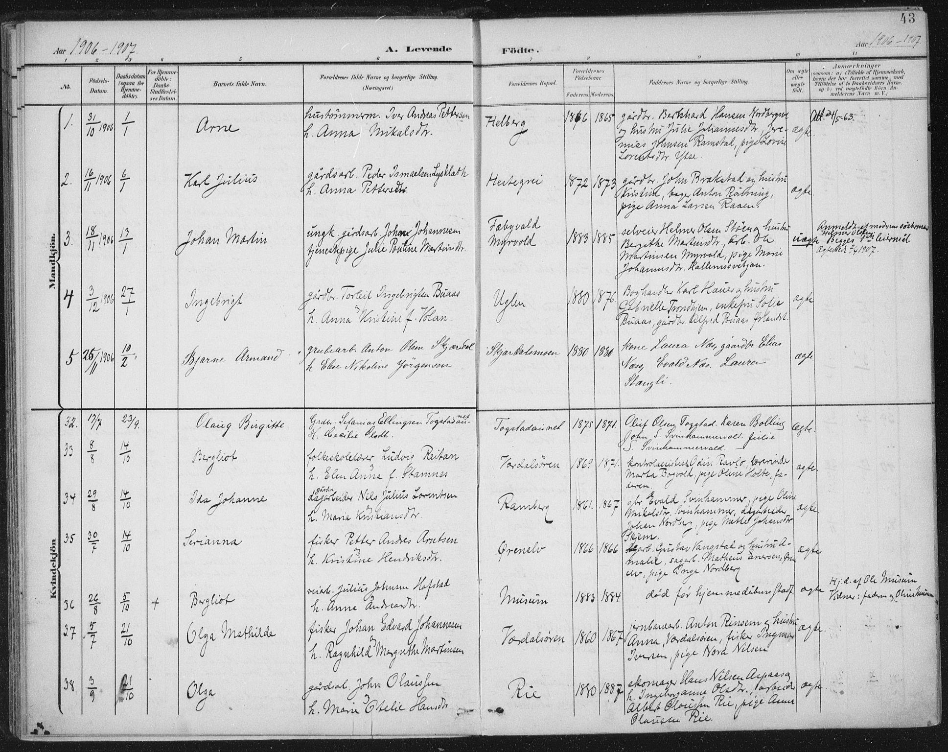 SAT, Ministerialprotokoller, klokkerbøker og fødselsregistre - Nord-Trøndelag, 723/L0246: Ministerialbok nr. 723A15, 1900-1917, s. 43