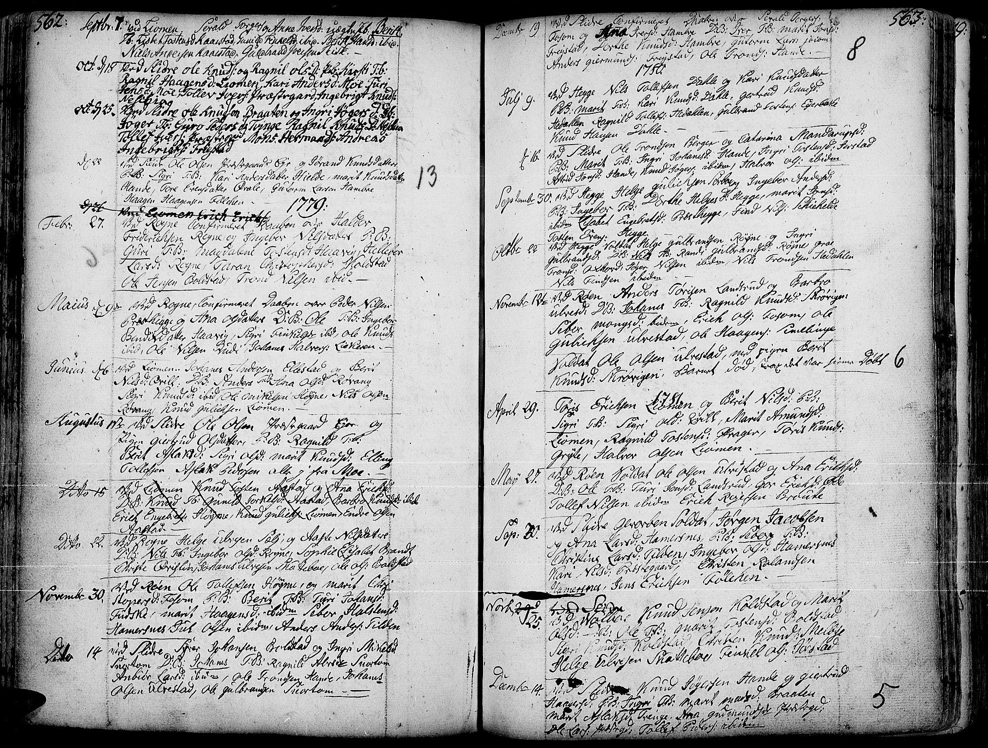 SAH, Slidre prestekontor, Ministerialbok nr. 1, 1724-1814, s. 562-563