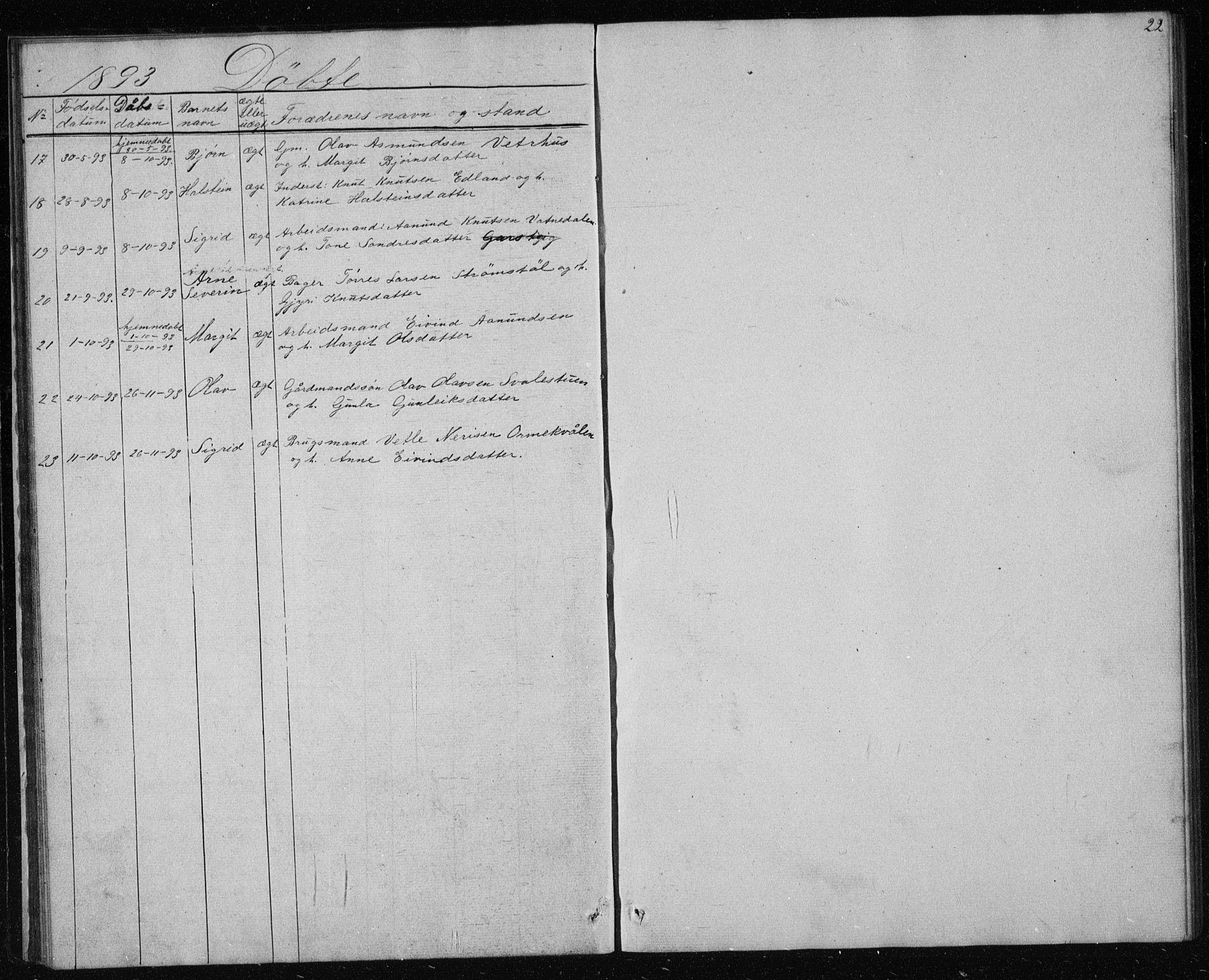 SAKO, Vinje kirkebøker, G/Gc/L0001: Klokkerbok nr. III 1, 1850-1893, s. 22