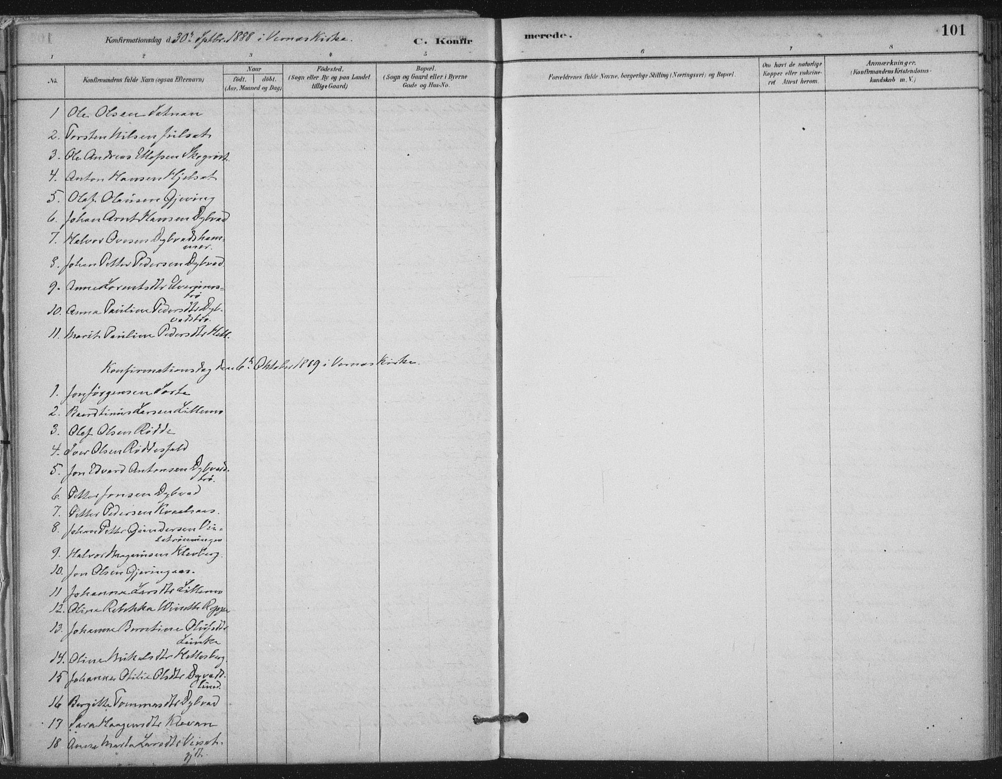 SAT, Ministerialprotokoller, klokkerbøker og fødselsregistre - Nord-Trøndelag, 710/L0095: Ministerialbok nr. 710A01, 1880-1914, s. 101