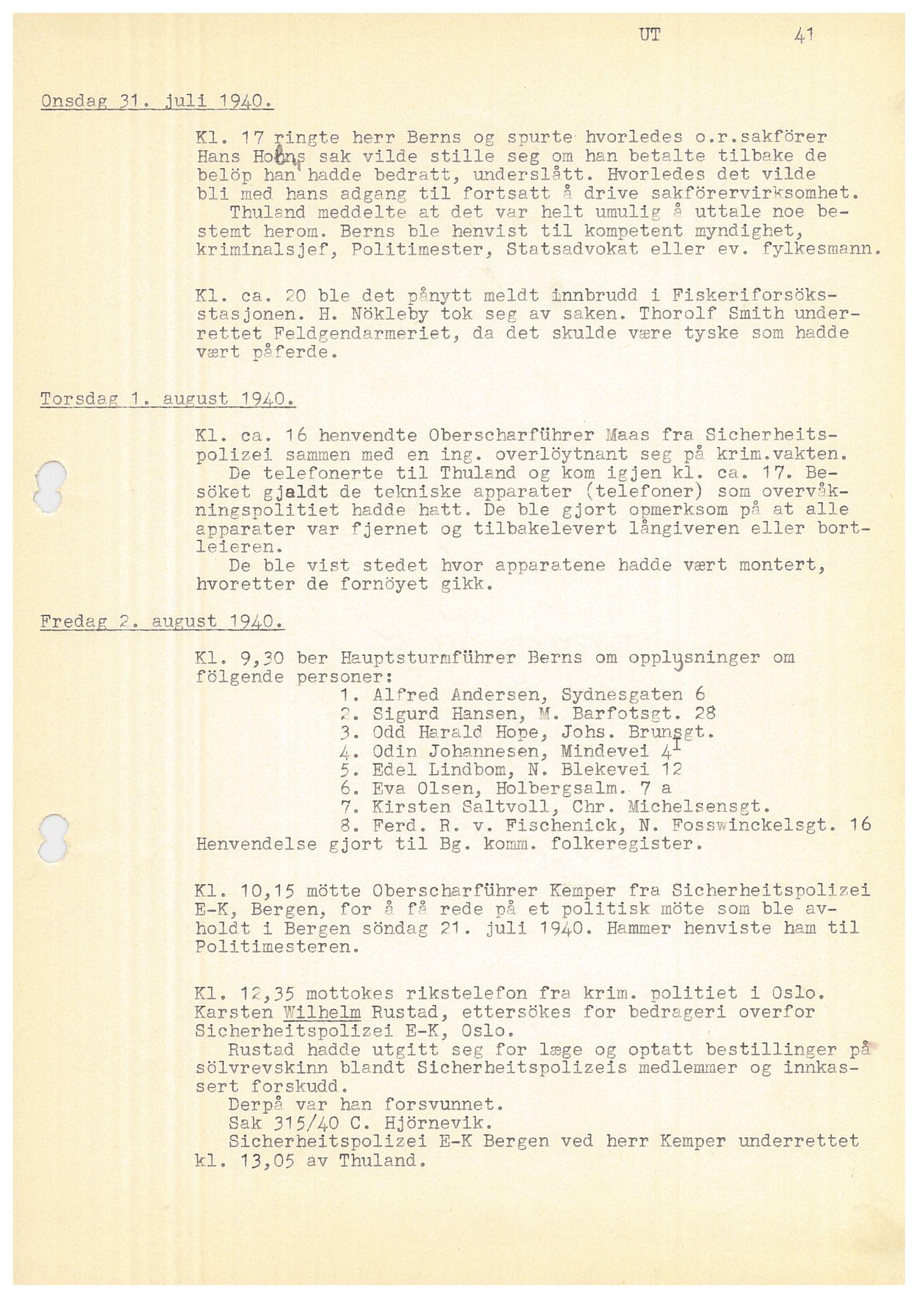 SAB, Bergen politidistrikt, Y/Ye/L0001: Avskrift av krigsdagbok av Dankert Thuland, 1940-1941, s. 41