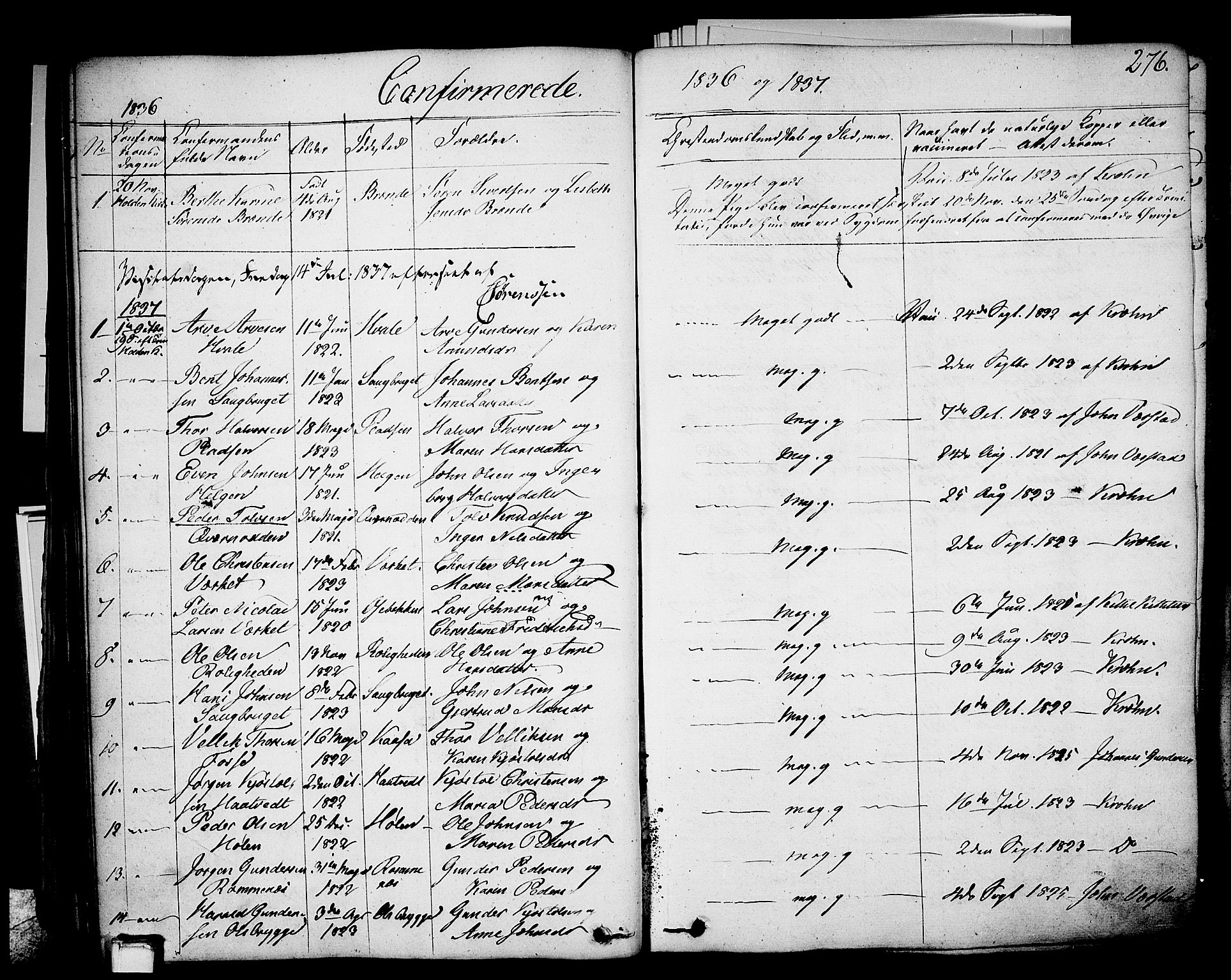 SAKO, Holla kirkebøker, F/Fa/L0004: Ministerialbok nr. 4, 1830-1848, s. 276