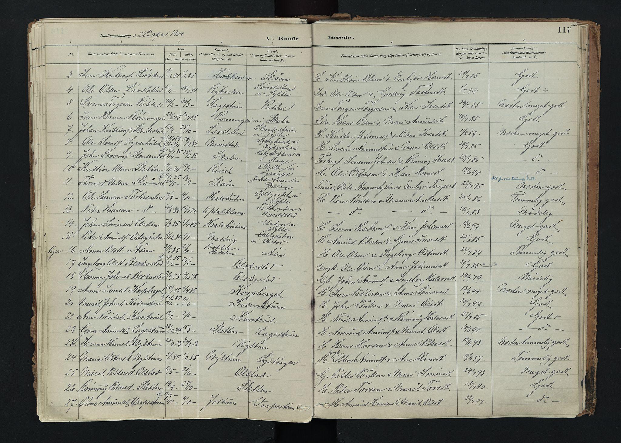SAH, Nord-Fron prestekontor, Ministerialbok nr. 5, 1884-1914, s. 117