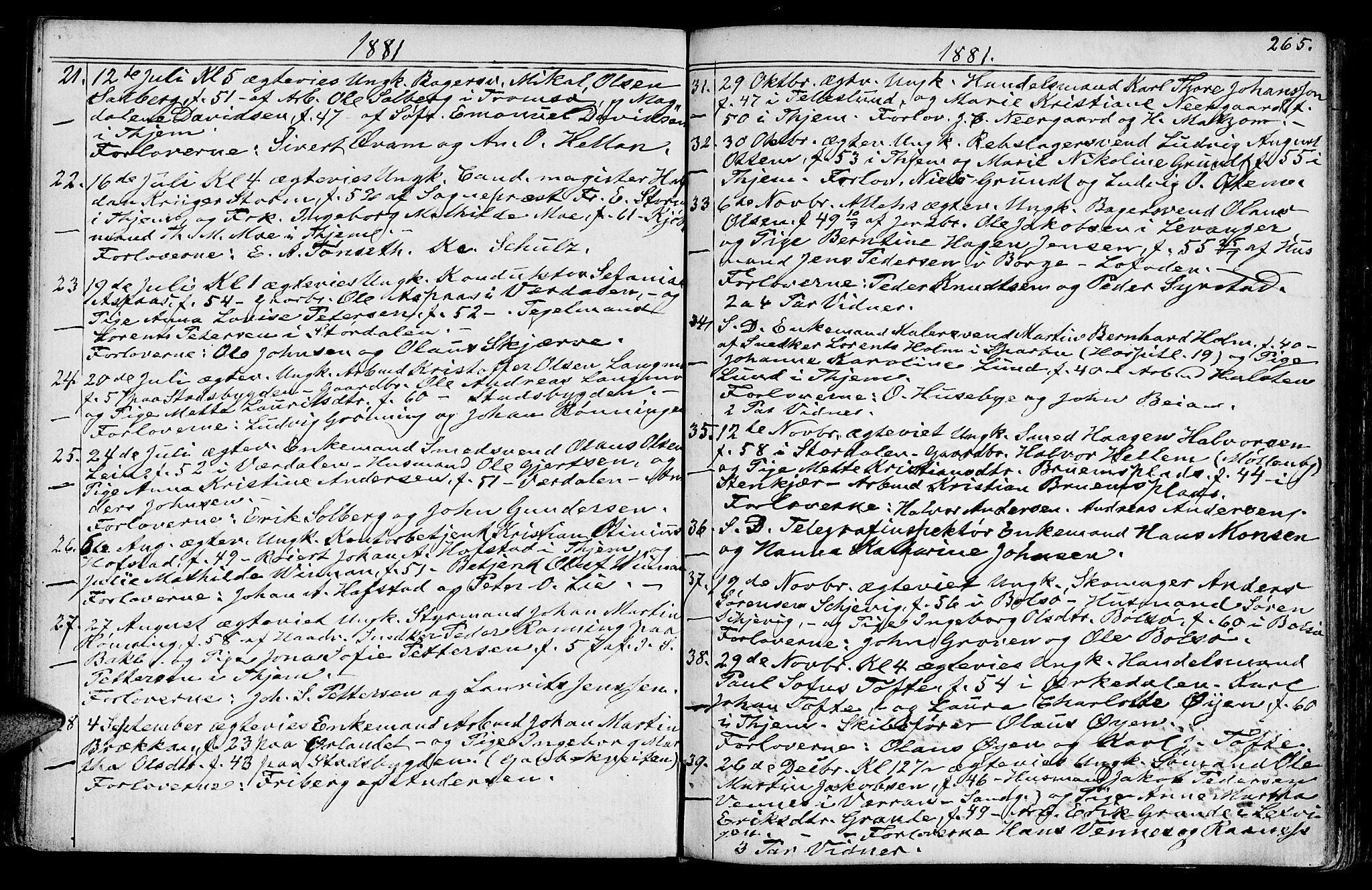 SAT, Ministerialprotokoller, klokkerbøker og fødselsregistre - Sør-Trøndelag, 602/L0142: Klokkerbok nr. 602C10, 1872-1894, s. 265