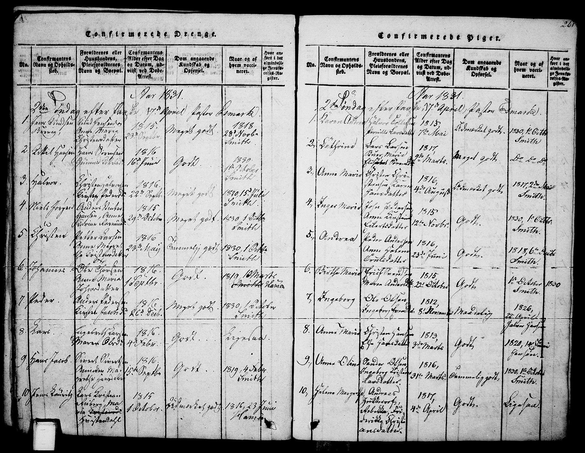 SAKO, Brevik kirkebøker, F/Fa/L0004: Ministerialbok nr. 4, 1814-1846, s. 261