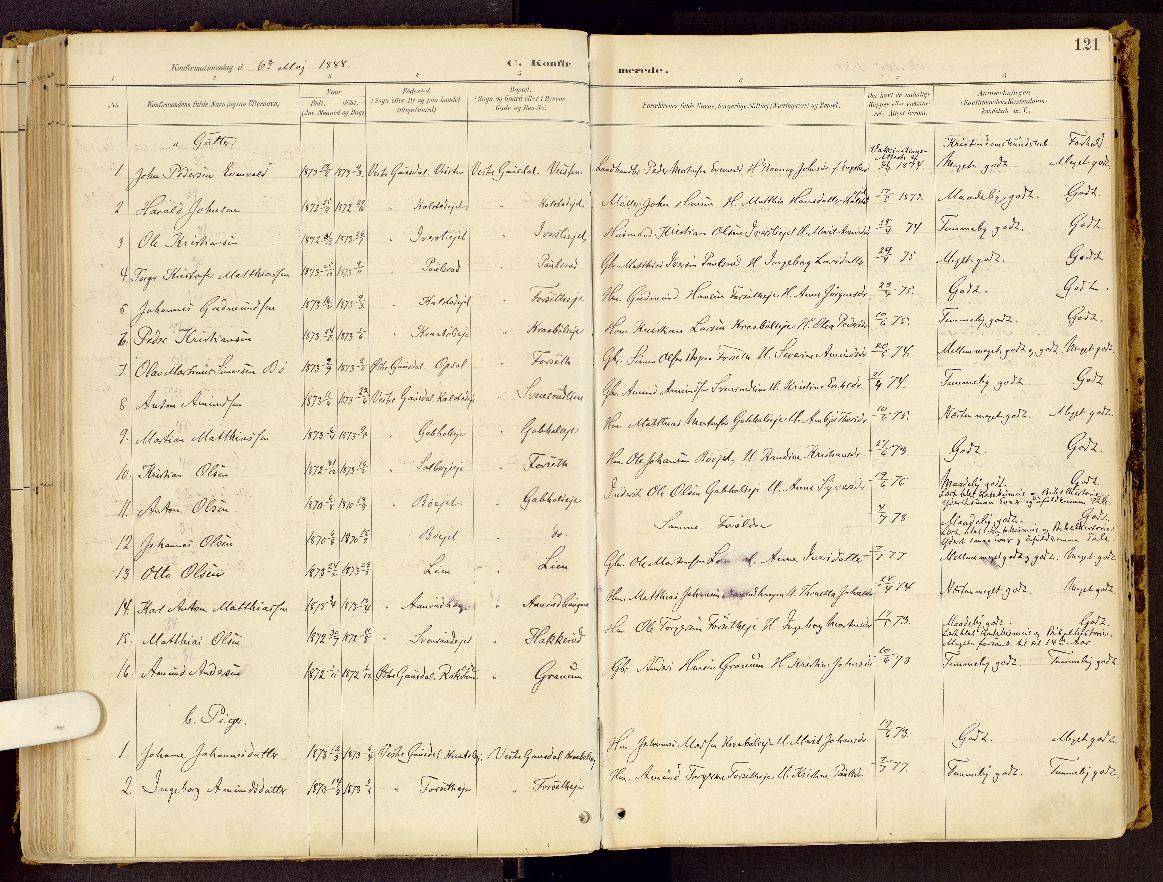 SAH, Vestre Gausdal prestekontor, Ministerialbok nr. 1, 1887-1914, s. 121