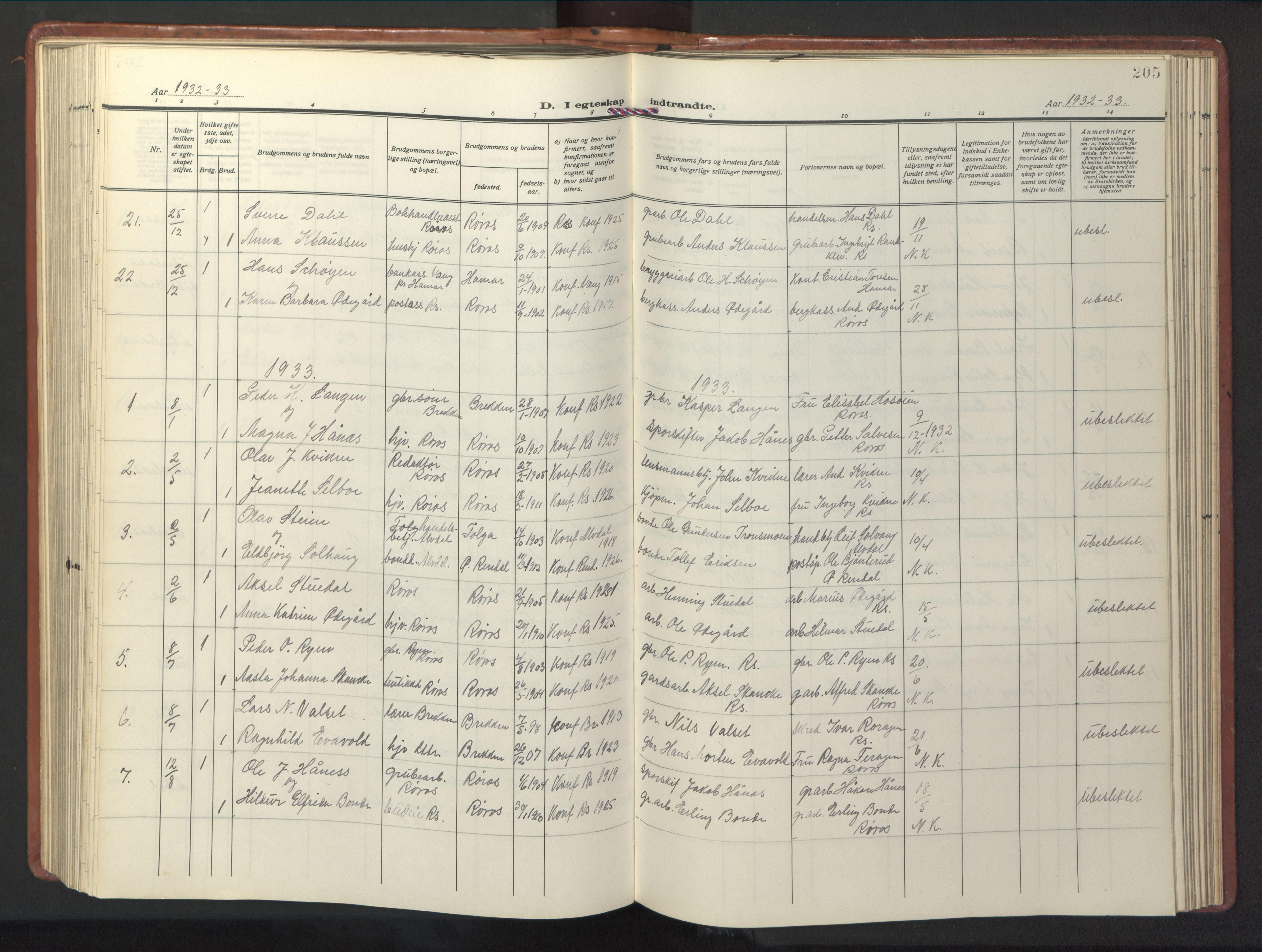 SAT, Ministerialprotokoller, klokkerbøker og fødselsregistre - Sør-Trøndelag, 681/L0943: Klokkerbok nr. 681C07, 1926-1954, s. 205