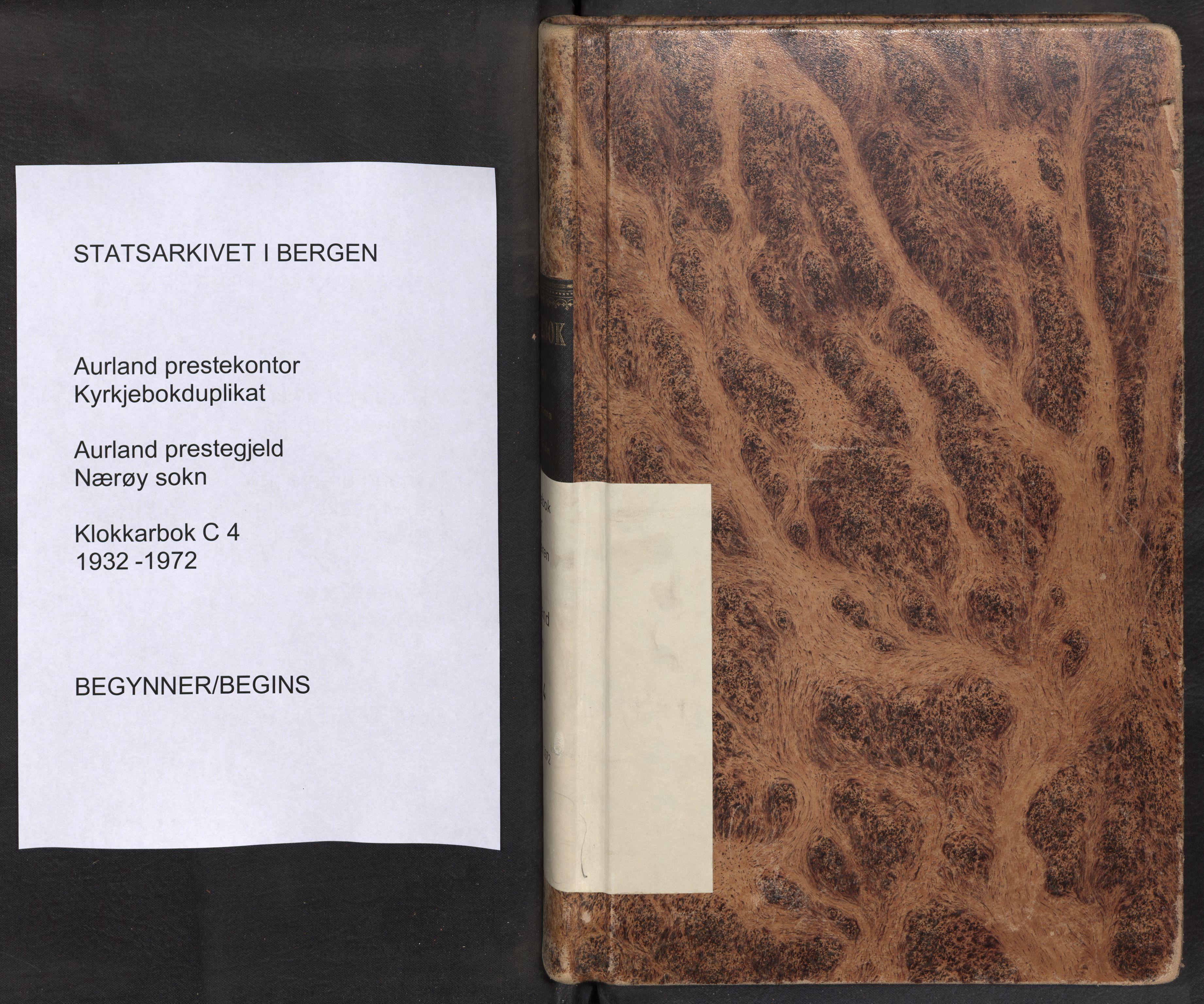 SAB, Aurland Sokneprestembete*, Klokkerbok nr. C 4, 1932-1972