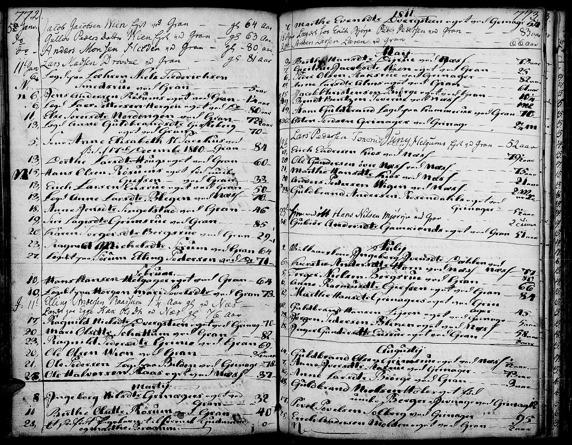 SAH, Gran prestekontor, Ministerialbok nr. 6, 1787-1824, s. 772-773