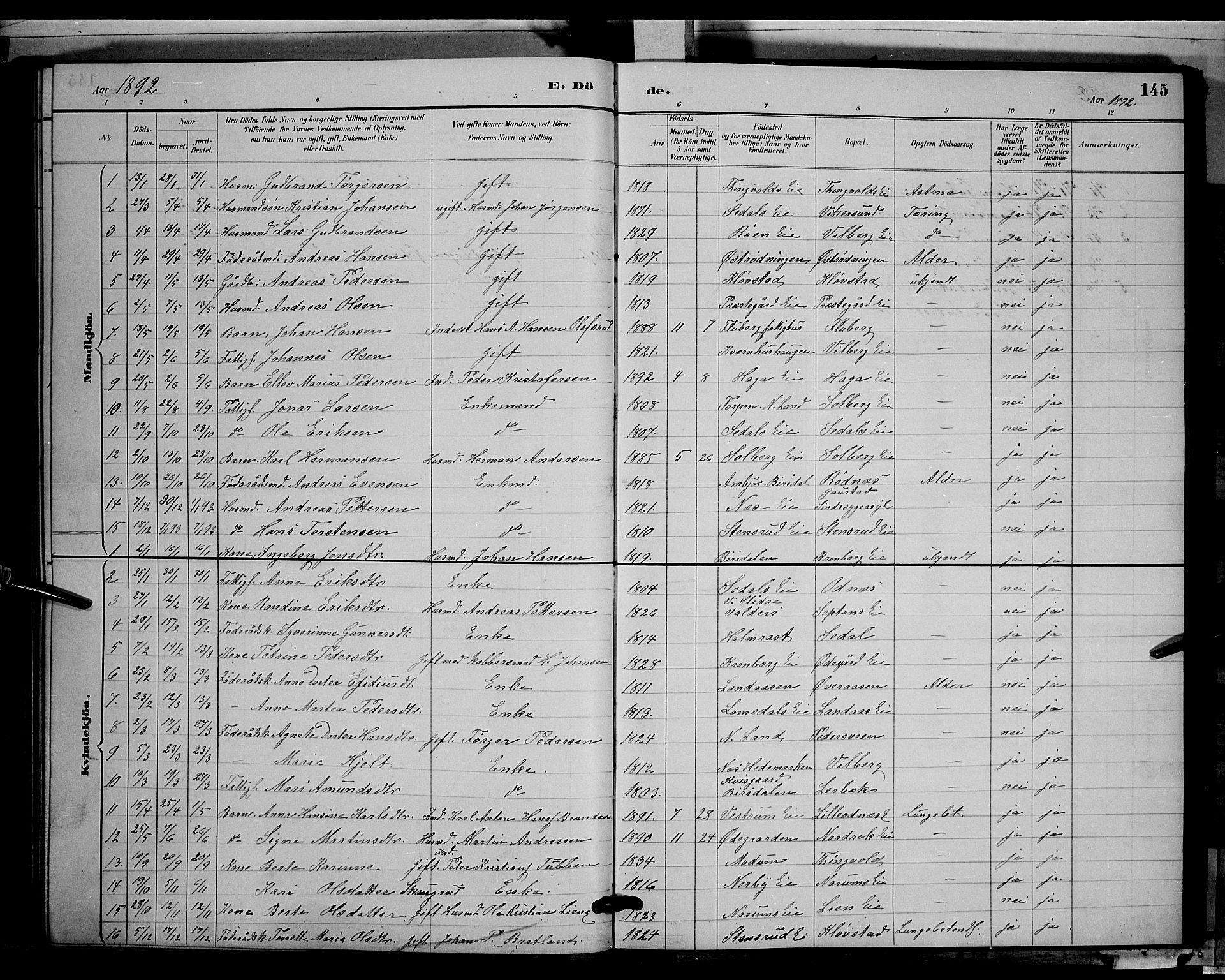 SAH, Søndre Land prestekontor, L/L0003: Klokkerbok nr. 3, 1884-1902, s. 145