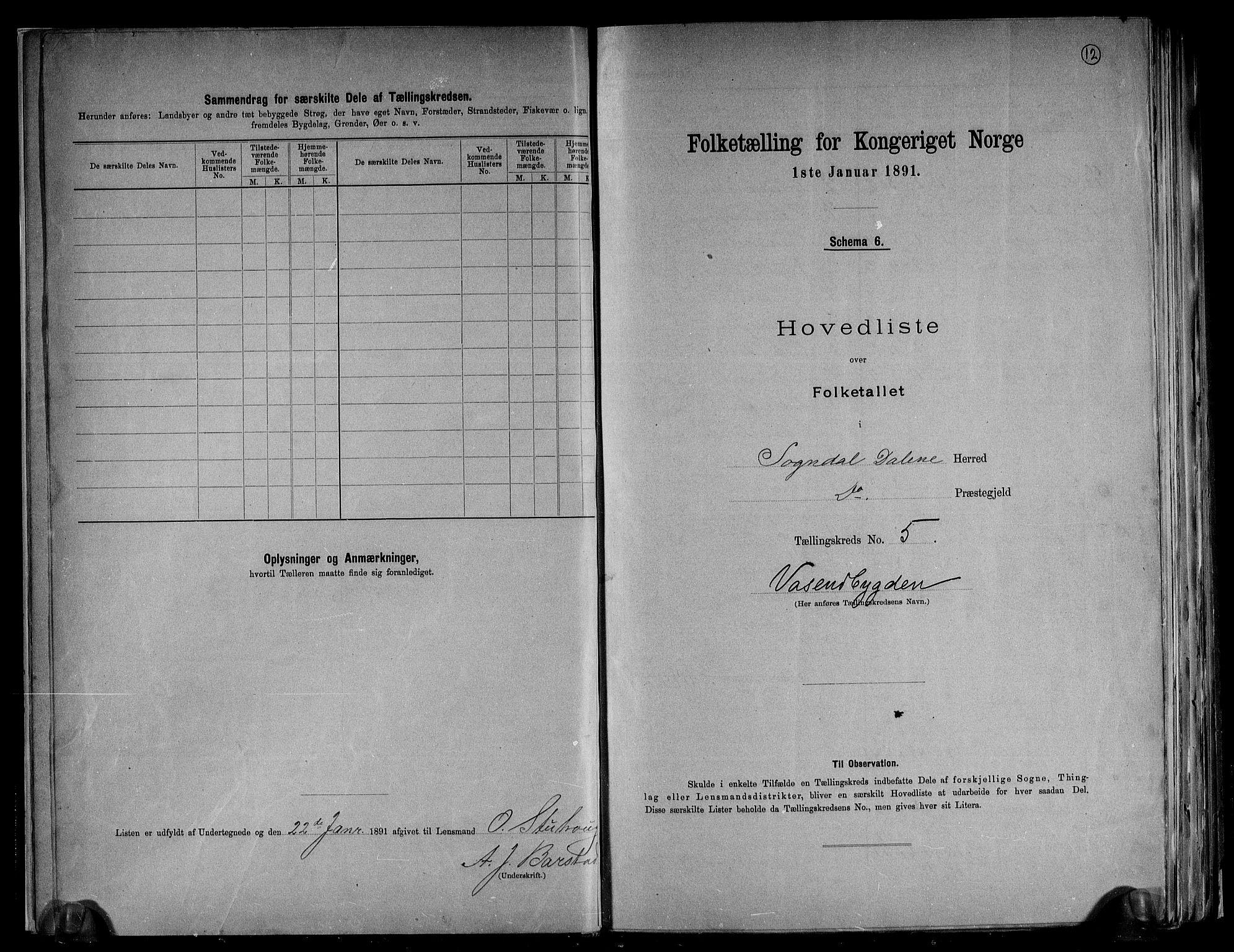 RA, Folketelling 1891 for 1111 Sokndal herred, 1891, s. 12