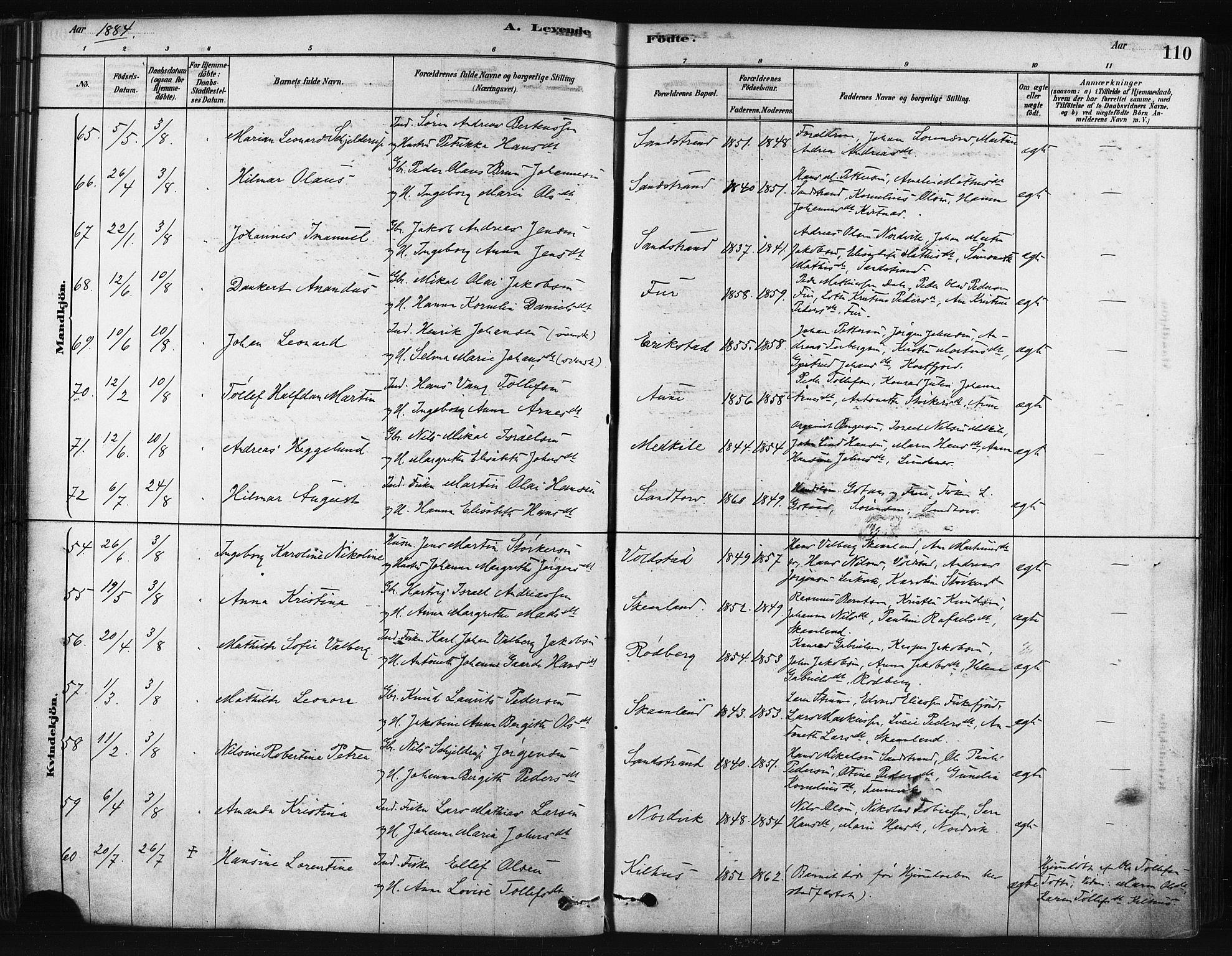 SATØ, Trondenes sokneprestkontor, H/Ha/L0014kirke: Ministerialbok nr. 14, 1878-1889, s. 110
