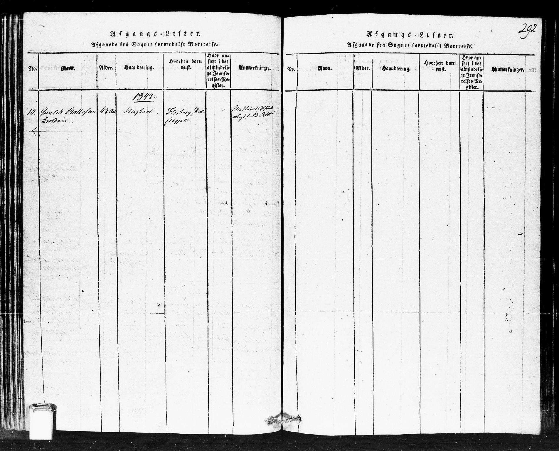 SAKO, Gransherad kirkebøker, F/Fb/L0002: Ministerialbok nr. II 2, 1815-1843, s. 292
