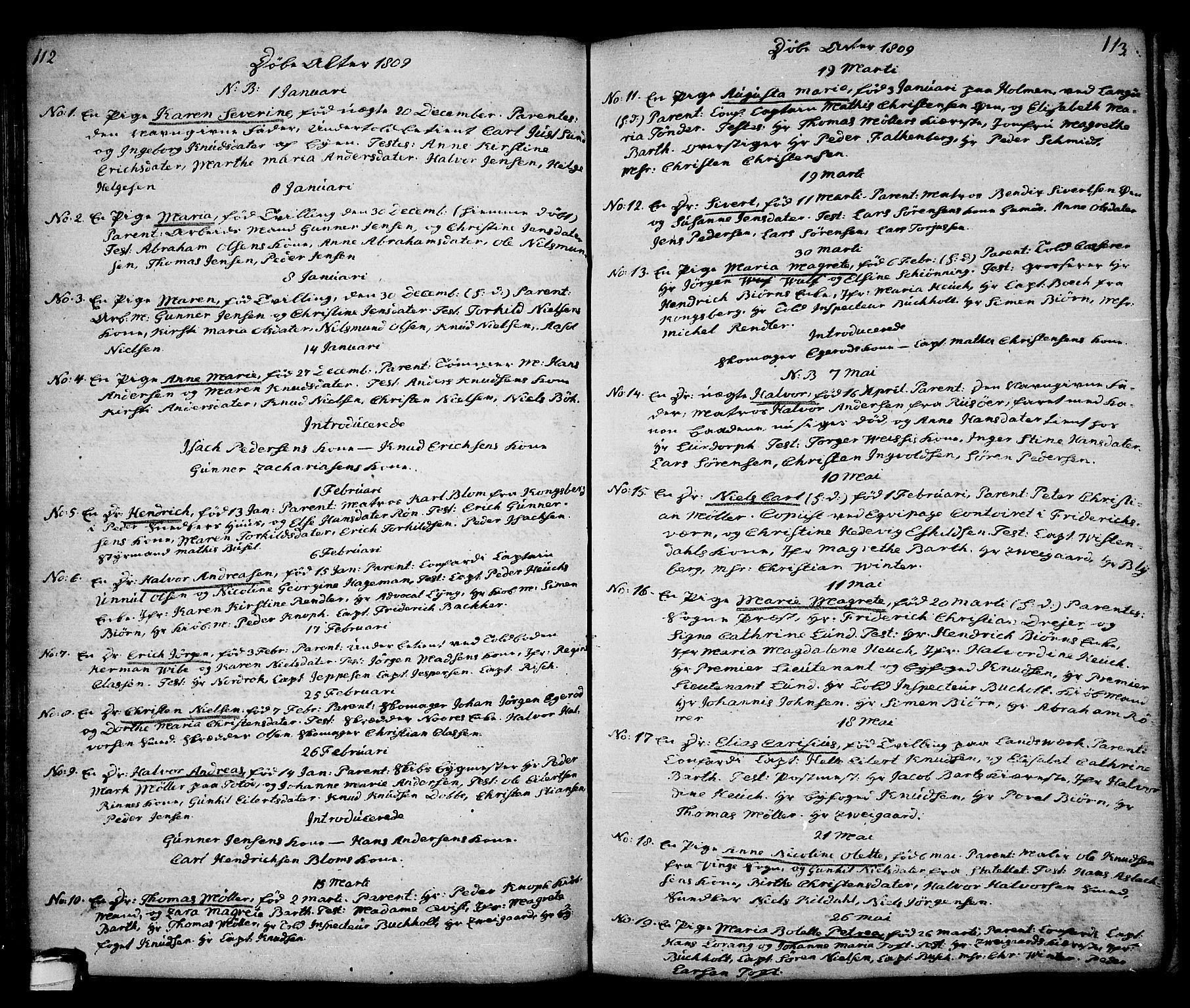 SAKO, Kragerø kirkebøker, G/Ga/L0001: Klokkerbok nr. 1 /1, 1806-1811, s. 112-113