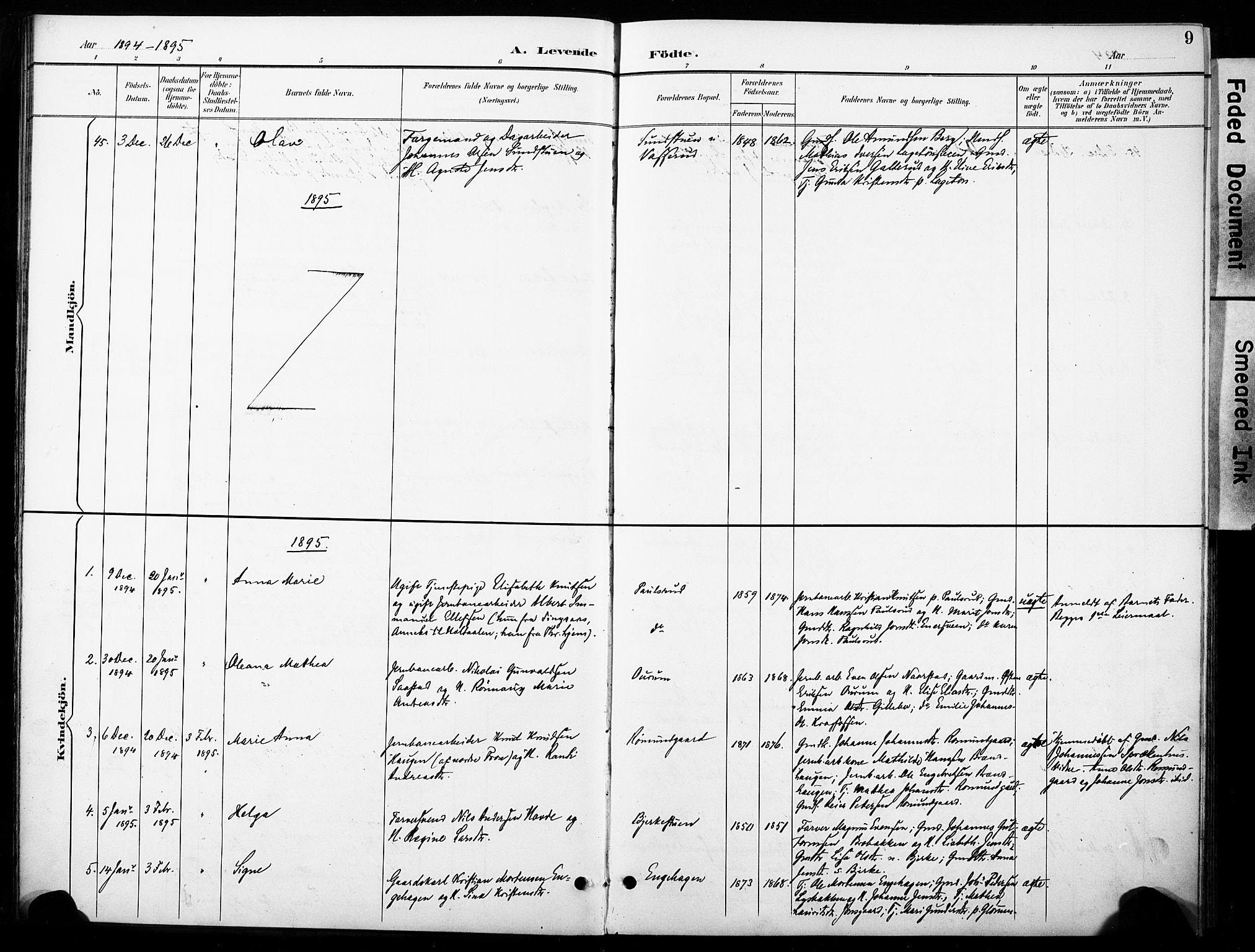 SAH, Øyer prestekontor, Ministerialbok nr. 11, 1894-1905, s. 9