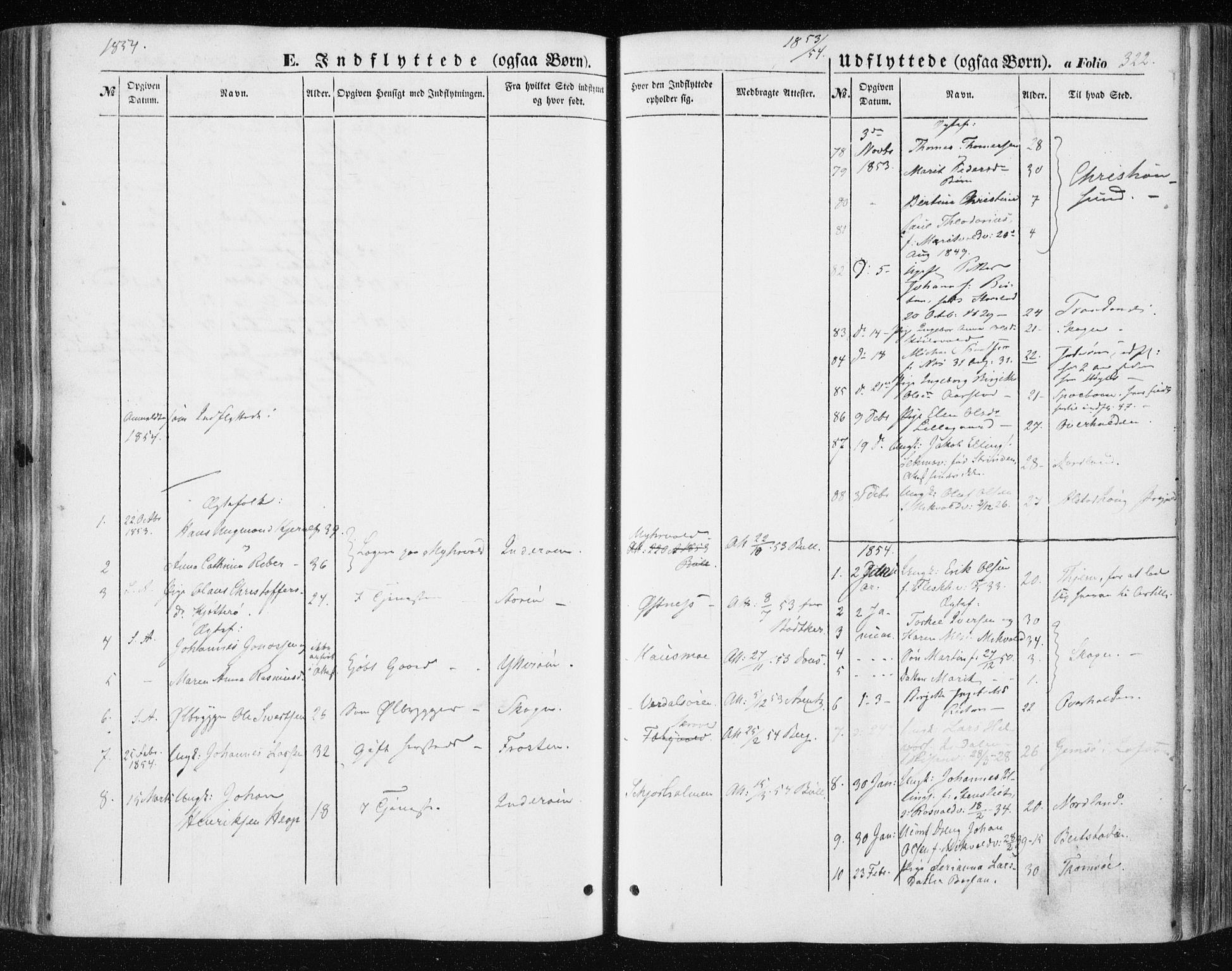 SAT, Ministerialprotokoller, klokkerbøker og fødselsregistre - Nord-Trøndelag, 723/L0240: Ministerialbok nr. 723A09, 1852-1860, s. 322