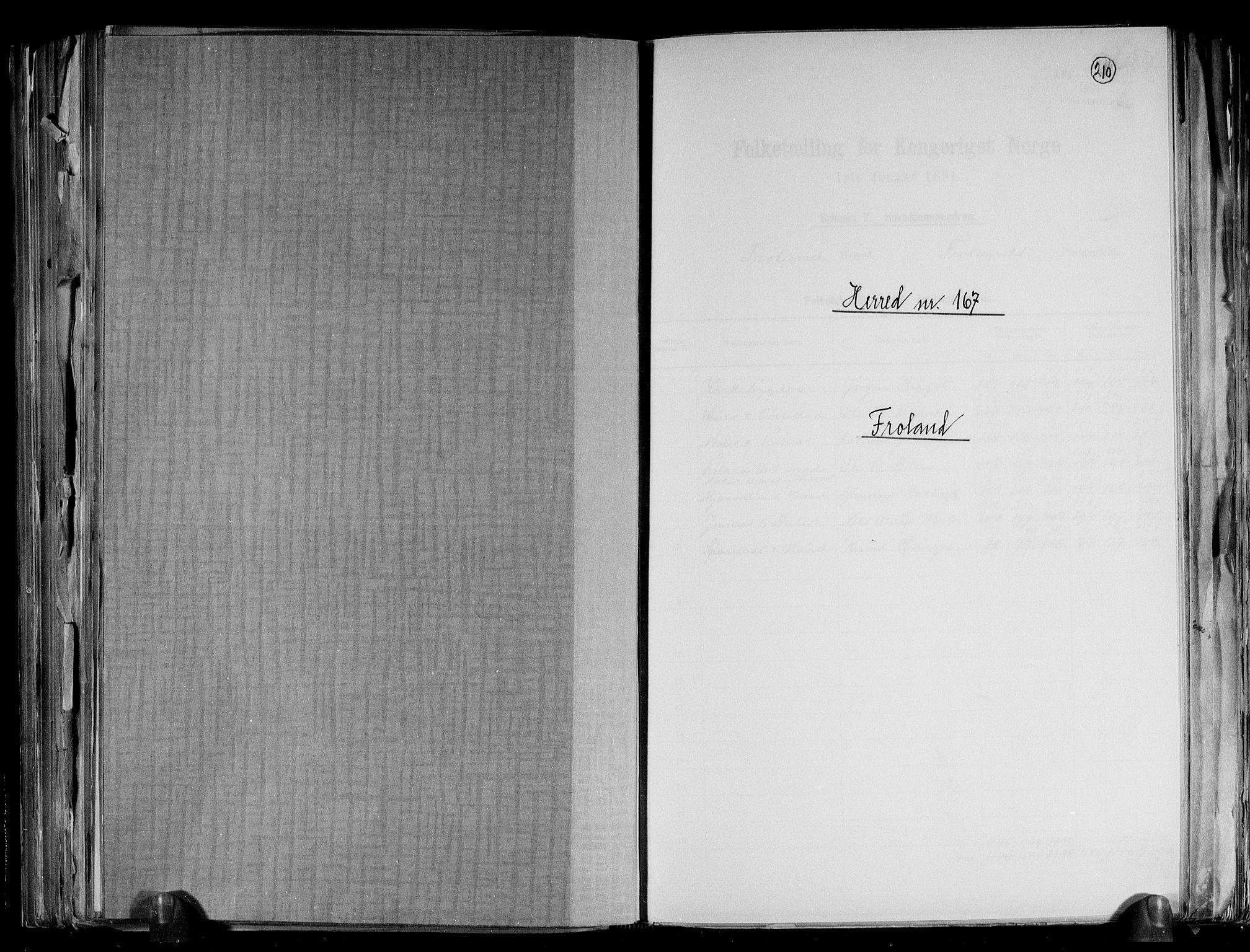RA, Folketelling 1891 for 0919 Froland herred, 1891, s. 1