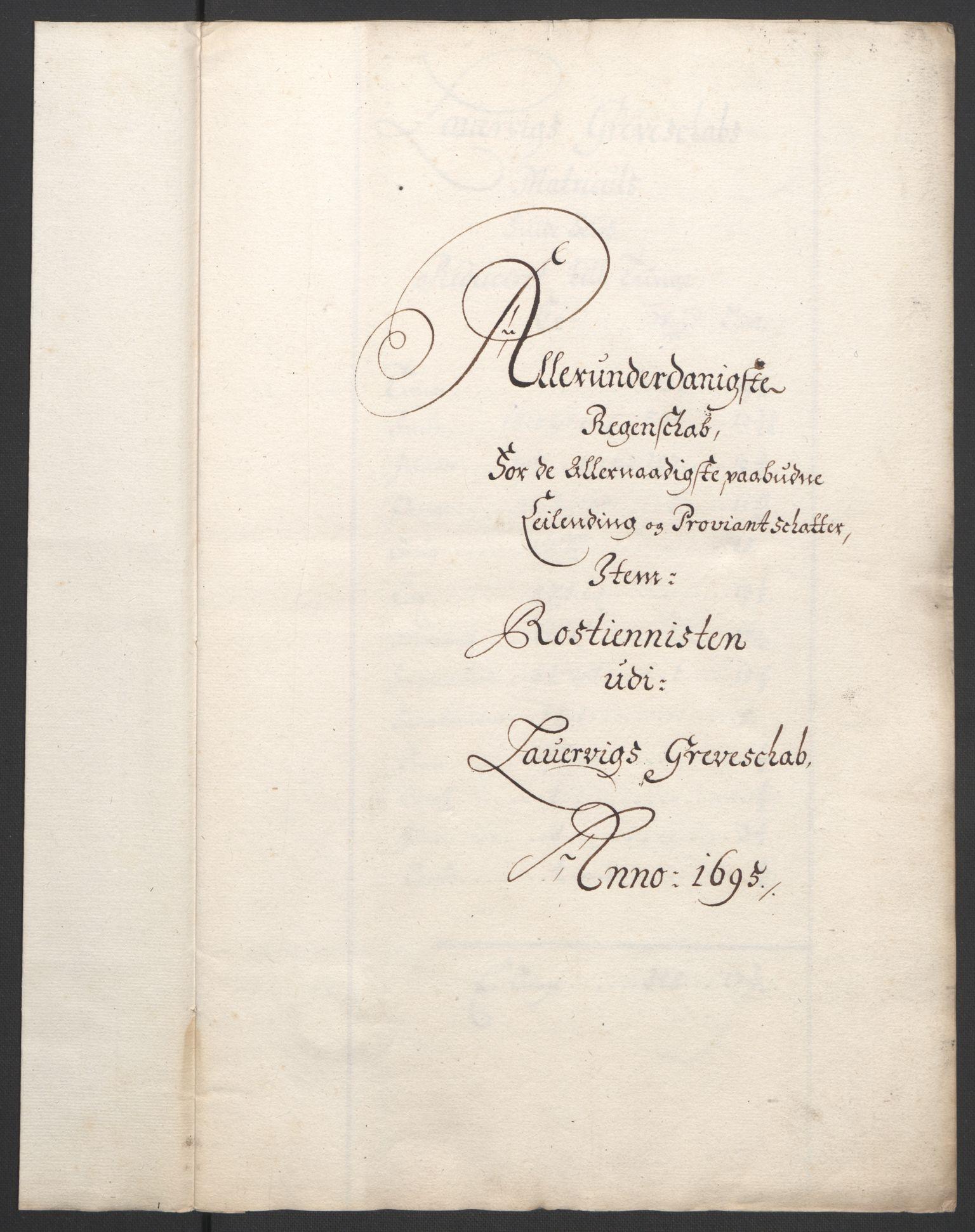 RA, Rentekammeret inntil 1814, Reviderte regnskaper, Fogderegnskap, R33/L1974: Fogderegnskap Larvik grevskap, 1693-1695, s. 198