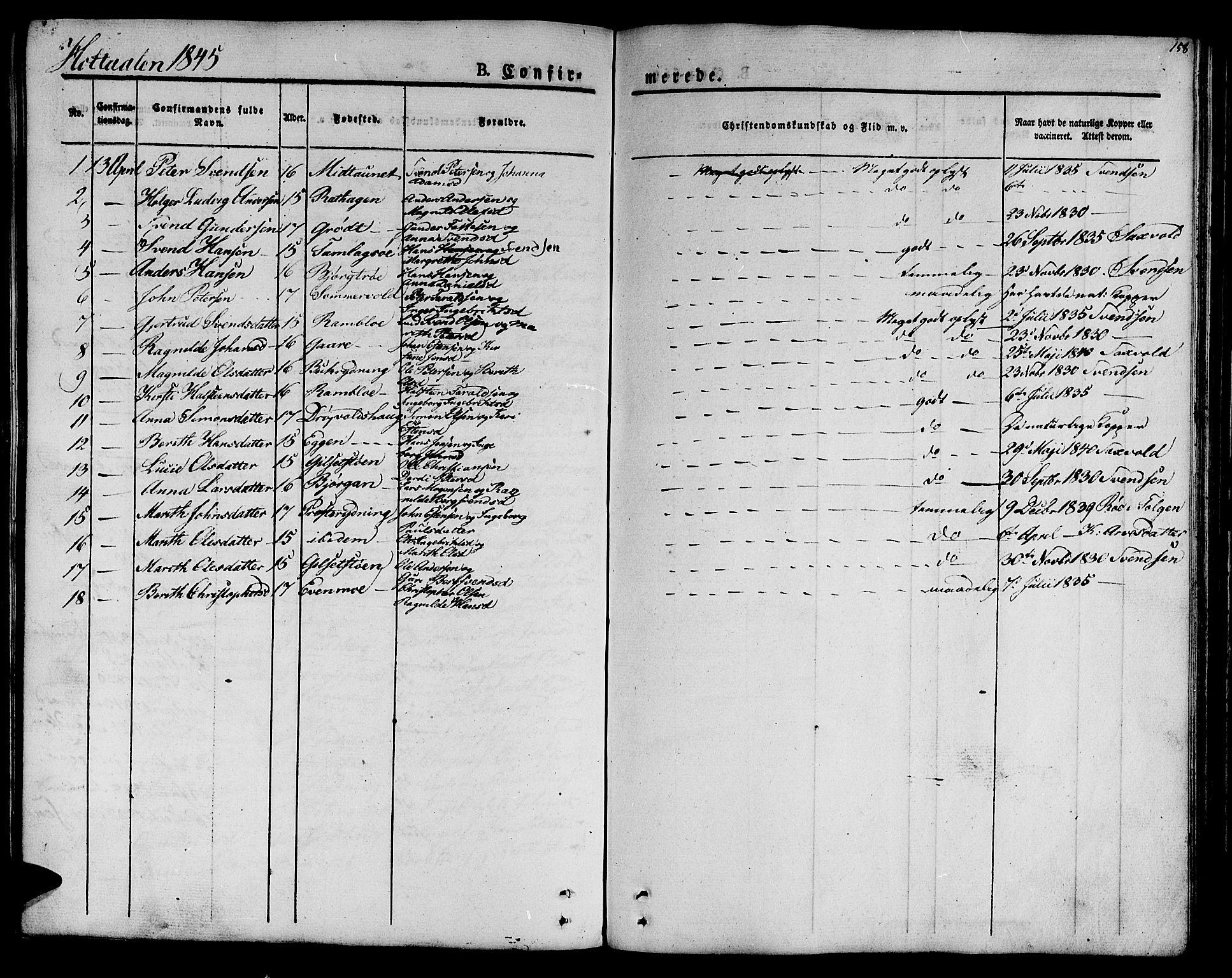SAT, Ministerialprotokoller, klokkerbøker og fødselsregistre - Sør-Trøndelag, 685/L0957: Ministerialbok nr. 685A04 /1, 1829-1845, s. 158