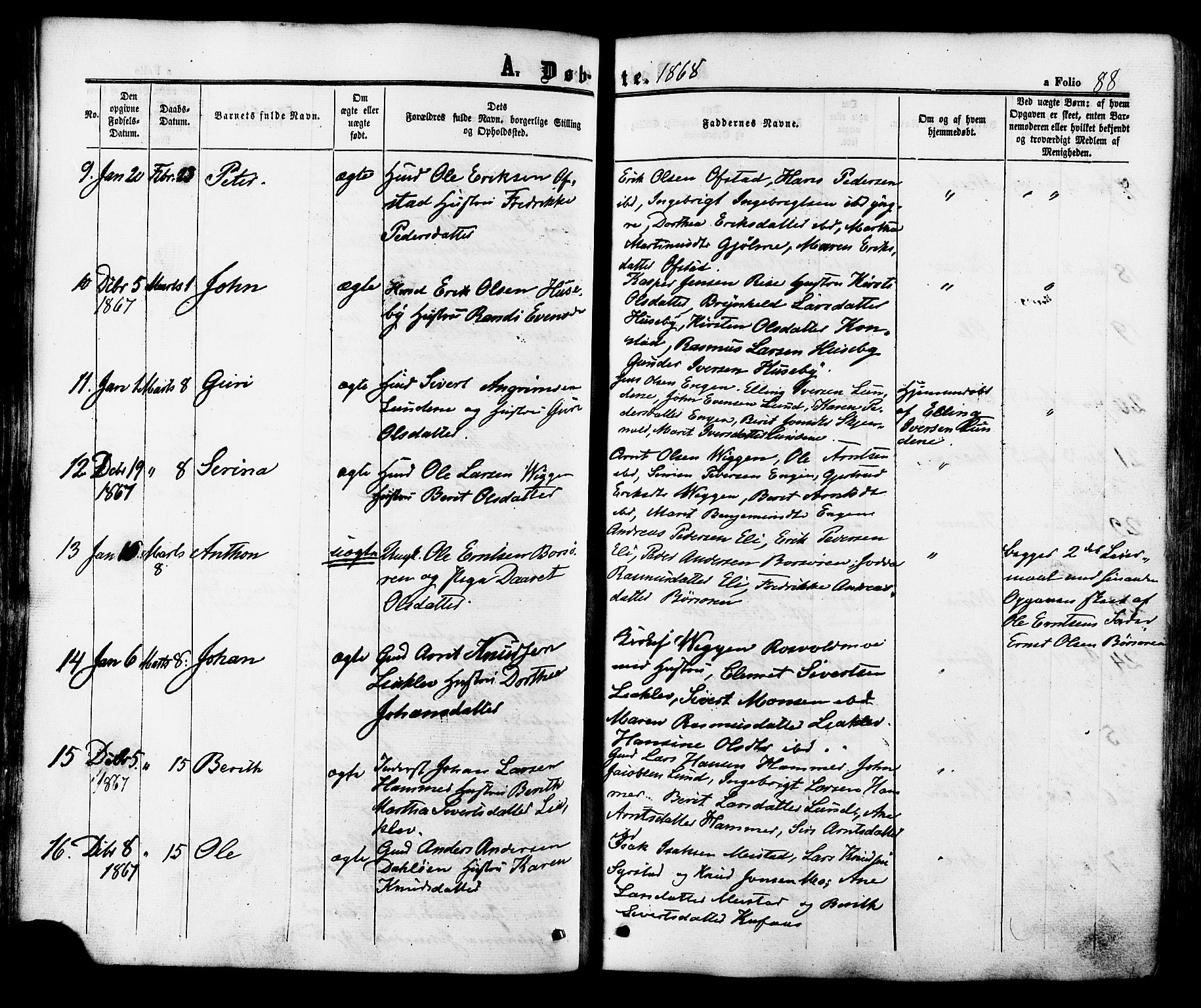 SAT, Ministerialprotokoller, klokkerbøker og fødselsregistre - Sør-Trøndelag, 665/L0772: Ministerialbok nr. 665A07, 1856-1878, s. 88