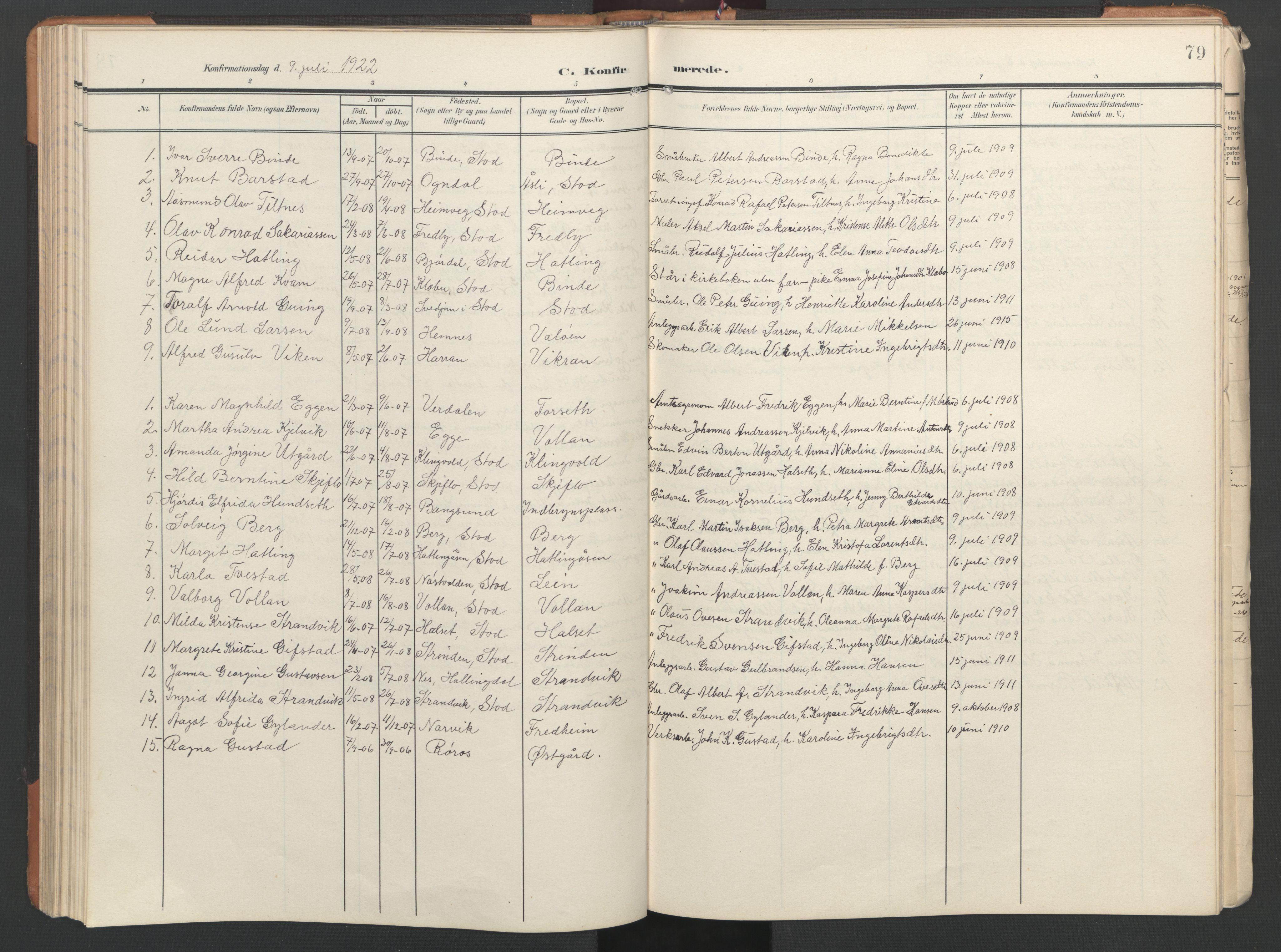 SAT, Ministerialprotokoller, klokkerbøker og fødselsregistre - Nord-Trøndelag, 746/L0455: Klokkerbok nr. 746C01, 1908-1933, s. 79