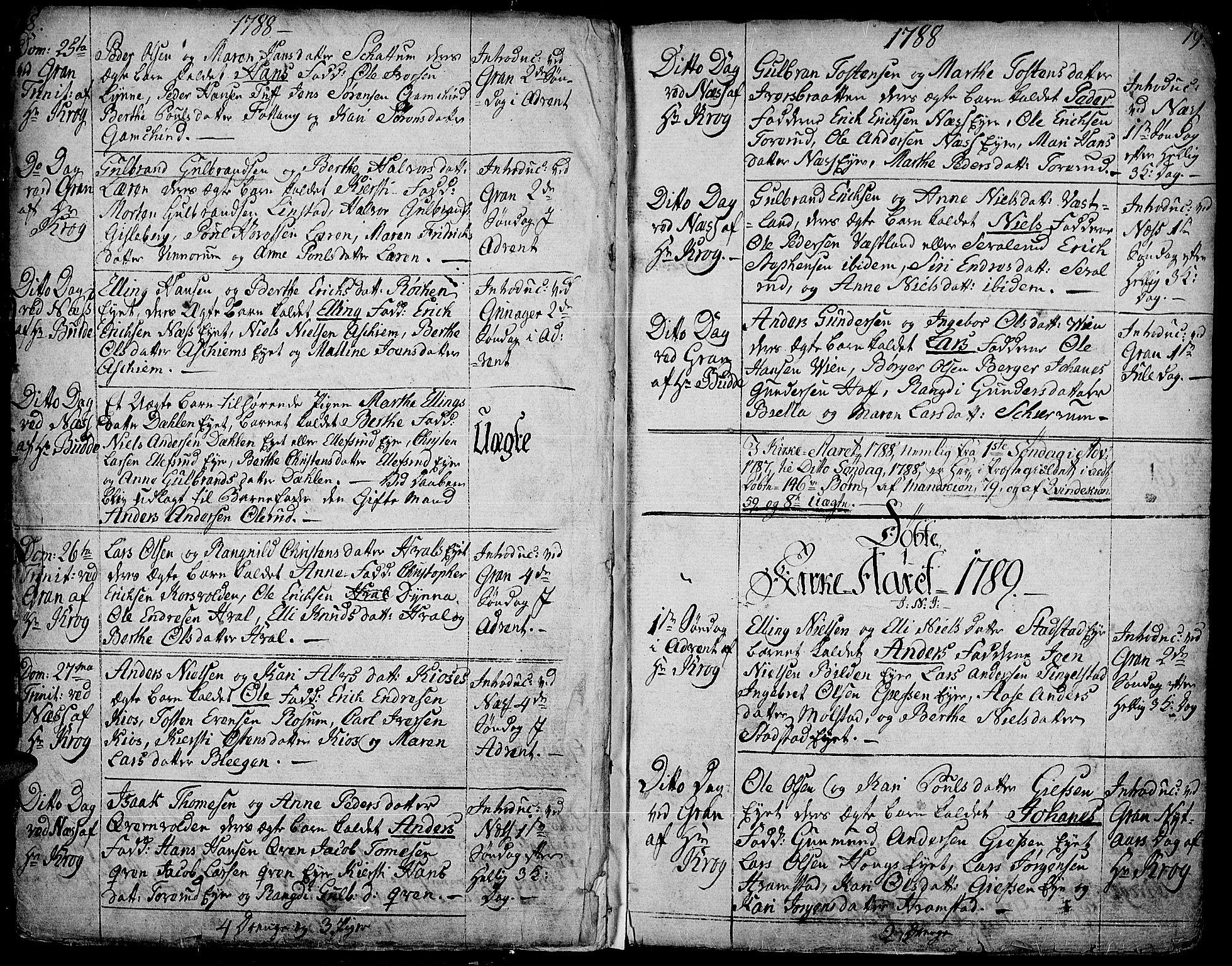 SAH, Gran prestekontor, Ministerialbok nr. 6, 1787-1824, s. 18-19