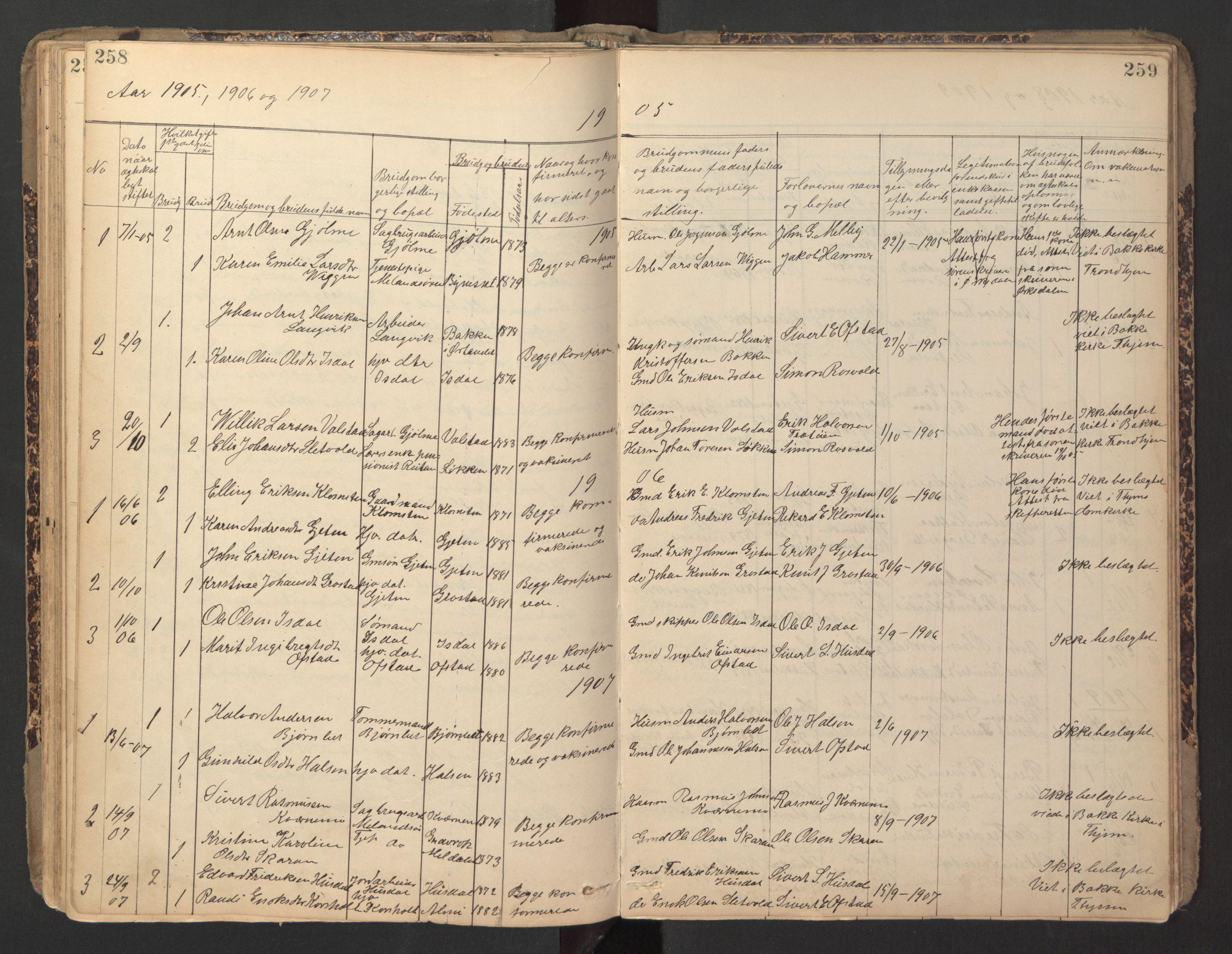 SAT, Ministerialprotokoller, klokkerbøker og fødselsregistre - Sør-Trøndelag, 670/L0837: Klokkerbok nr. 670C01, 1905-1946, s. 258-259