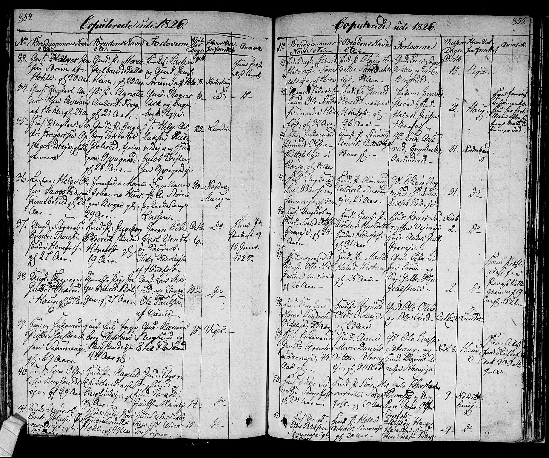 SAKO, Norderhov kirkebøker, F/Fa/L0009: Ministerialbok nr. 9, 1819-1837, s. 854-855