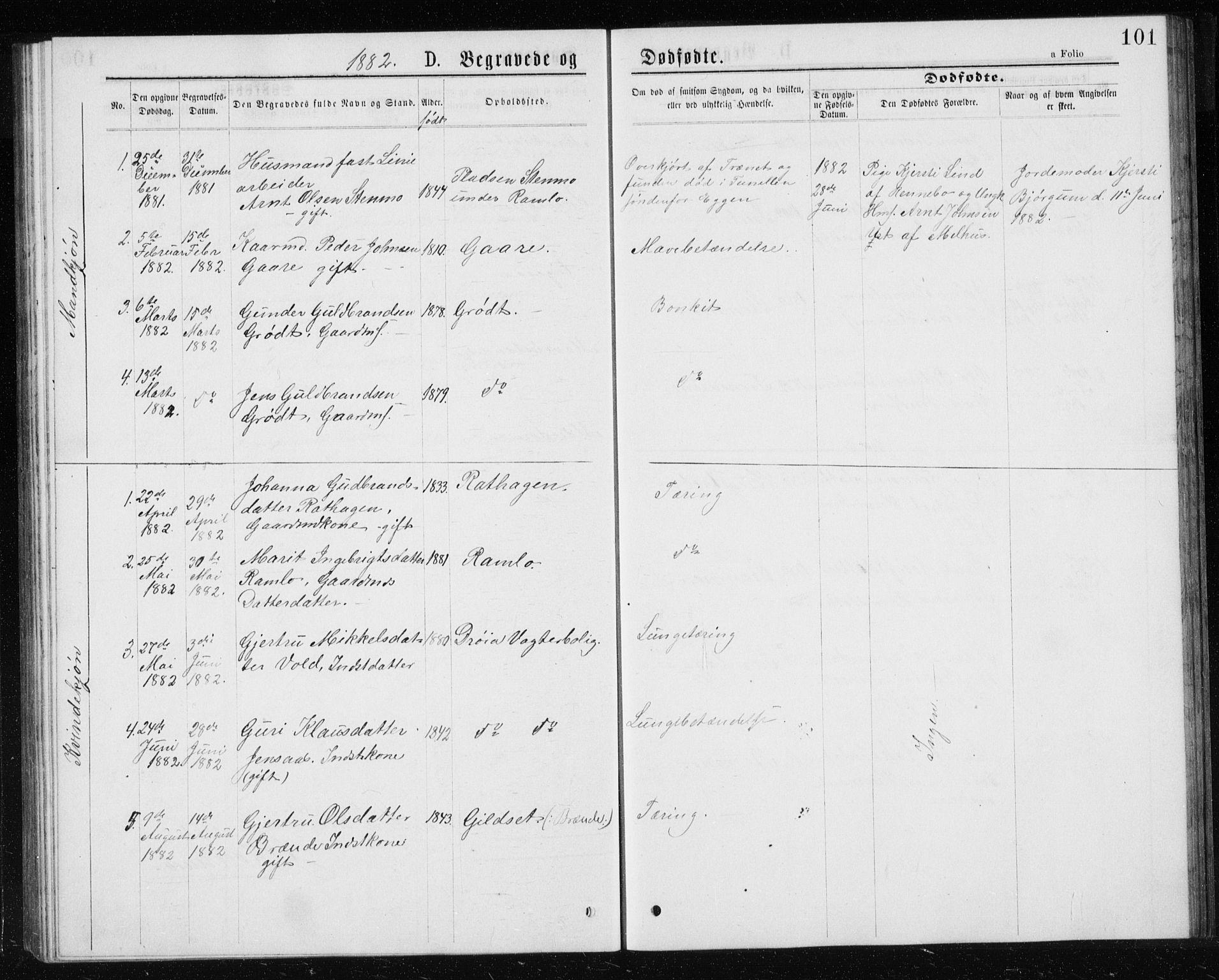 SAT, Ministerialprotokoller, klokkerbøker og fødselsregistre - Sør-Trøndelag, 685/L0977: Klokkerbok nr. 685C02, 1879-1890, s. 101