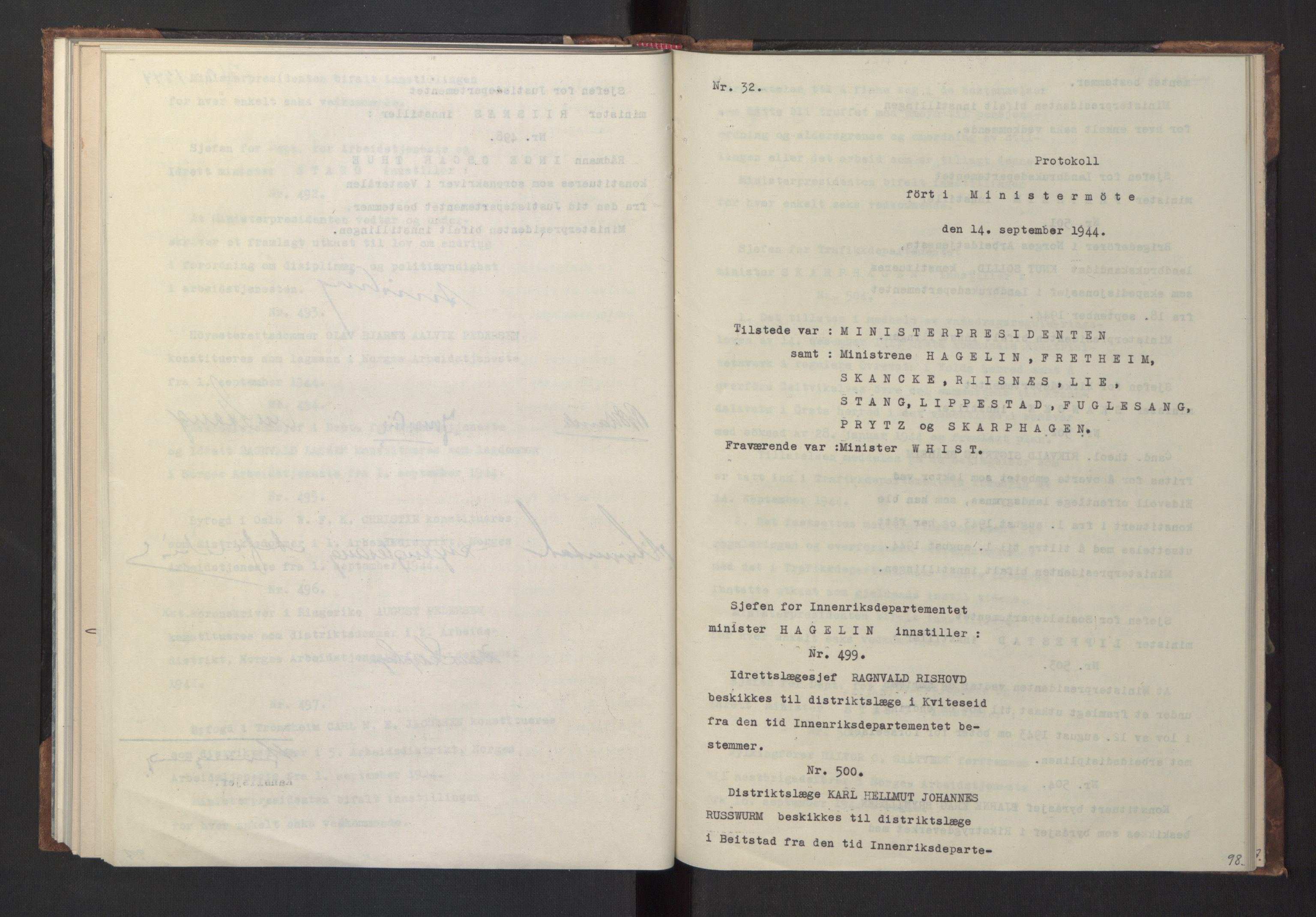 RA, NS-administrasjonen 1940-1945 (Statsrådsekretariatet, de kommisariske statsråder mm), D/Da/L0005: Protokoll fra ministermøter, 1944, s. 97b-98a