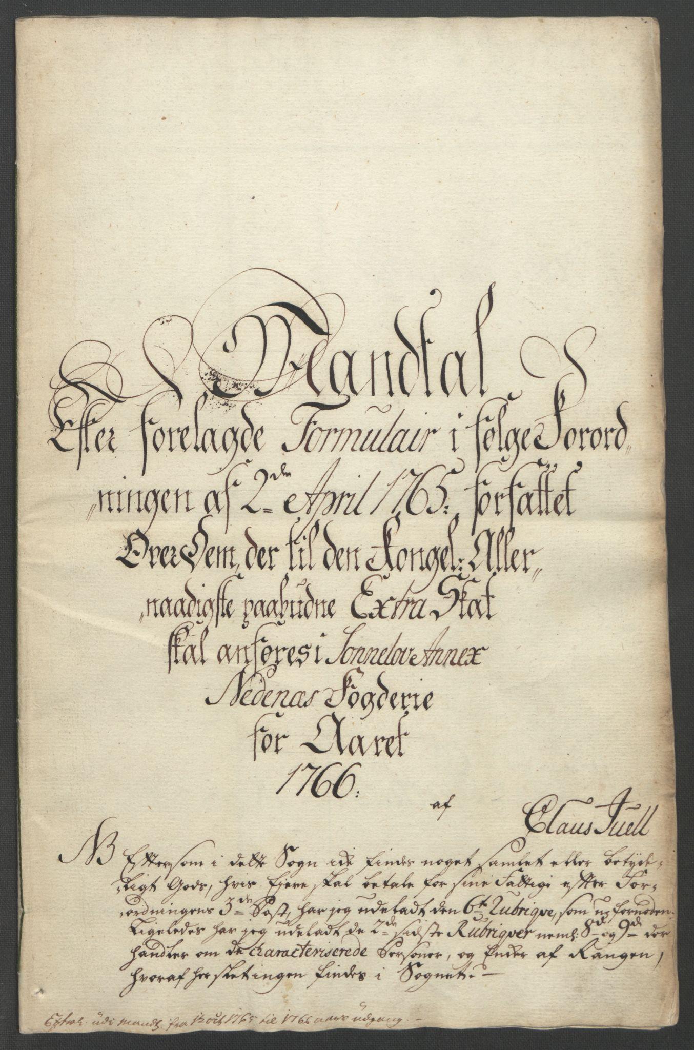 RA, Rentekammeret inntil 1814, Reviderte regnskaper, Fogderegnskap, R39/L2424: Ekstraskatten Nedenes, 1762-1767, s. 268