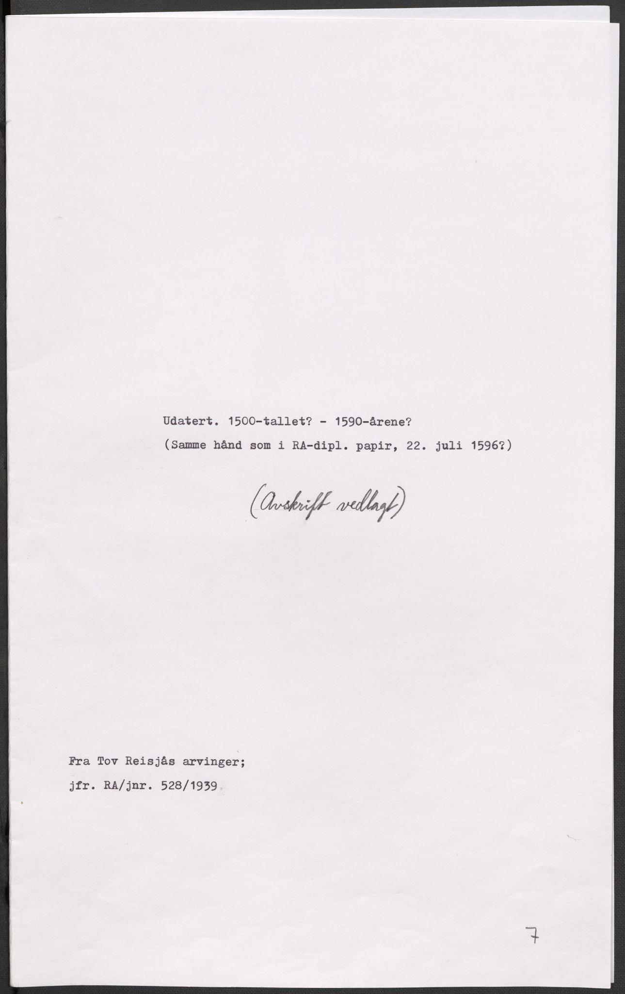 RA, Riksarkivets diplomsamling, F02/L0092: Dokumenter, 1590, s. 58
