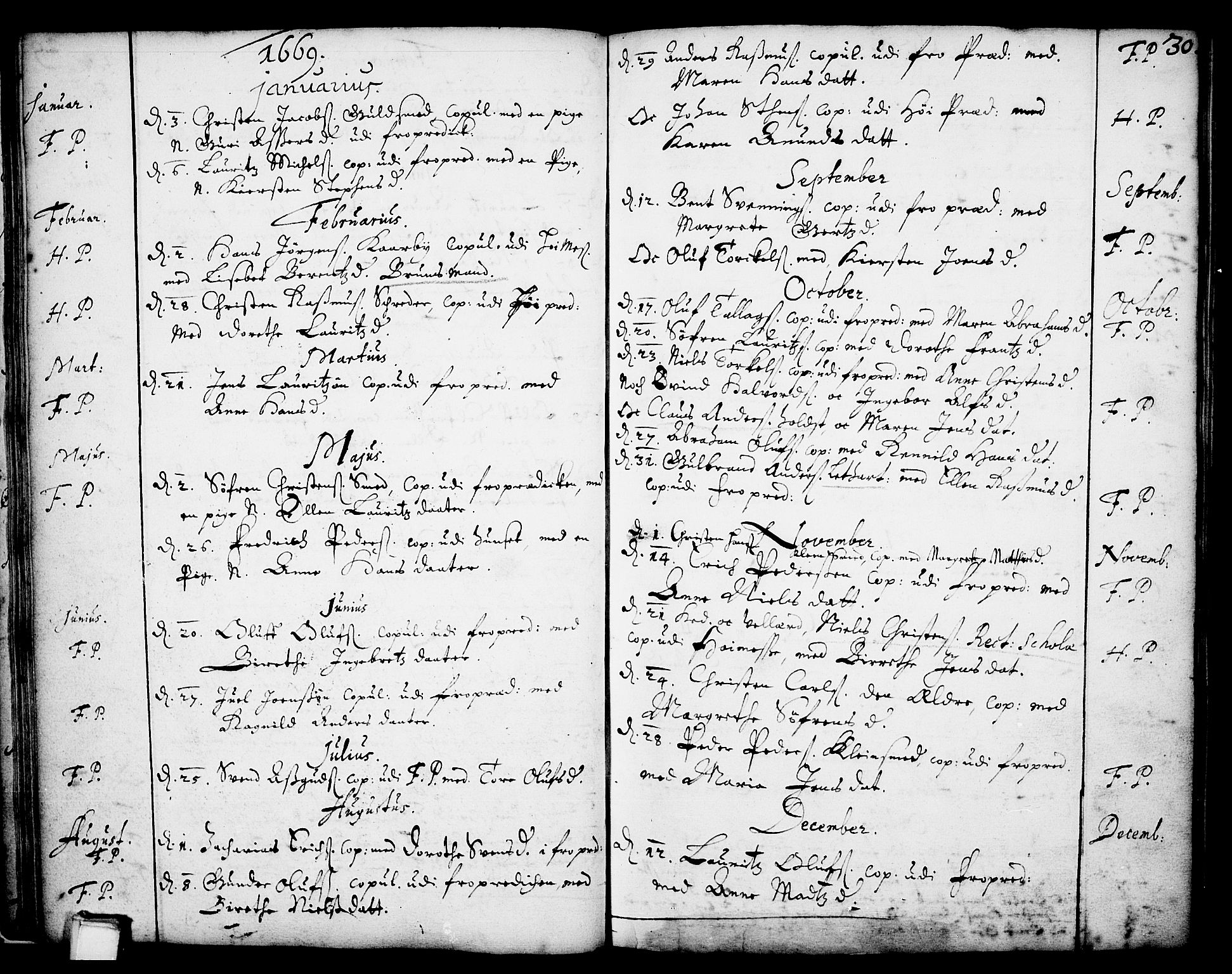 SAKO, Skien kirkebøker, F/Fa/L0001: Ministerialbok nr. 1, 1659-1679, s. 30